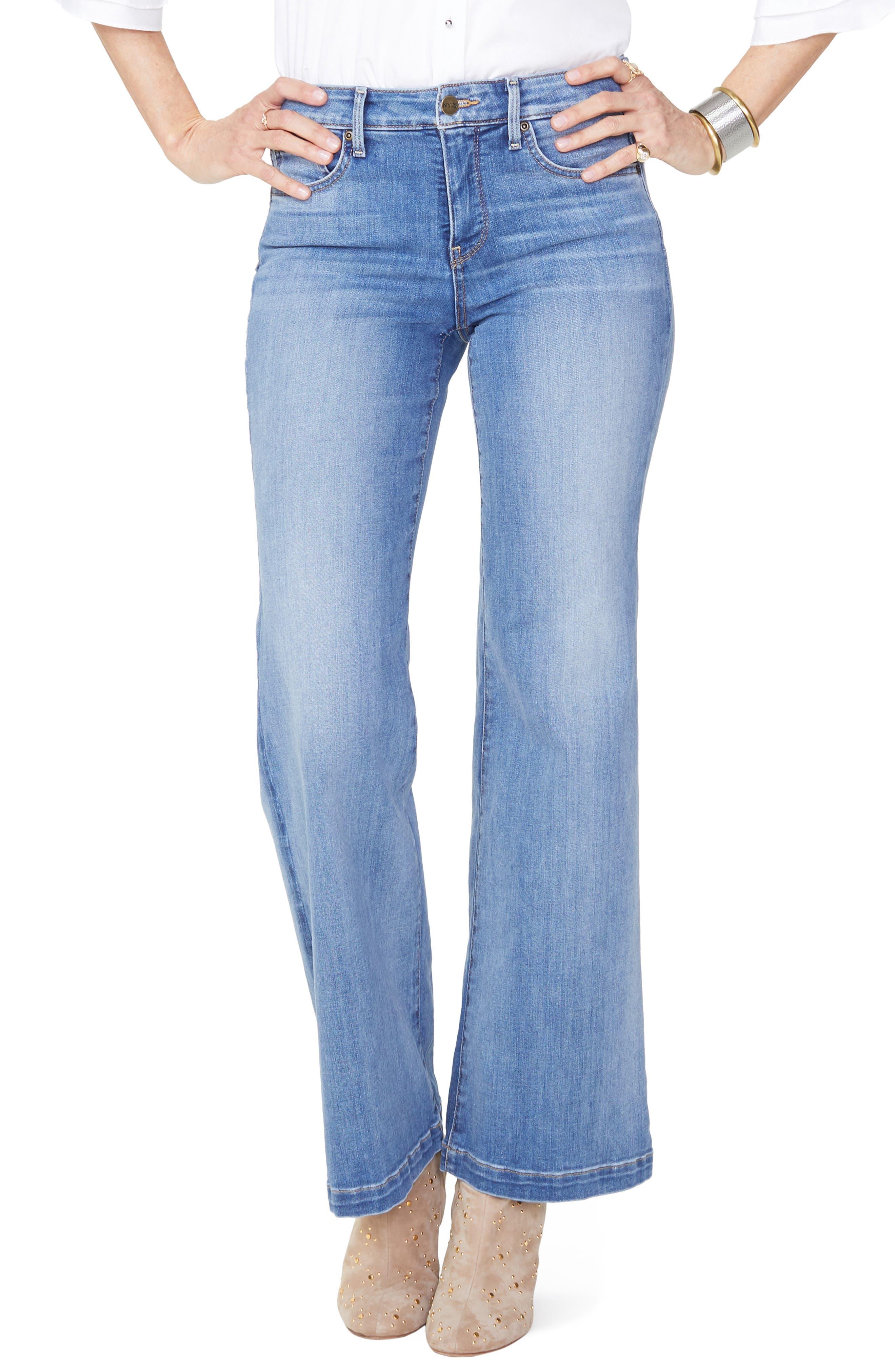 Wide Leg Clean Hem Jeans,                             Main thumbnail 1, color,                             CLEAN CABRILLO