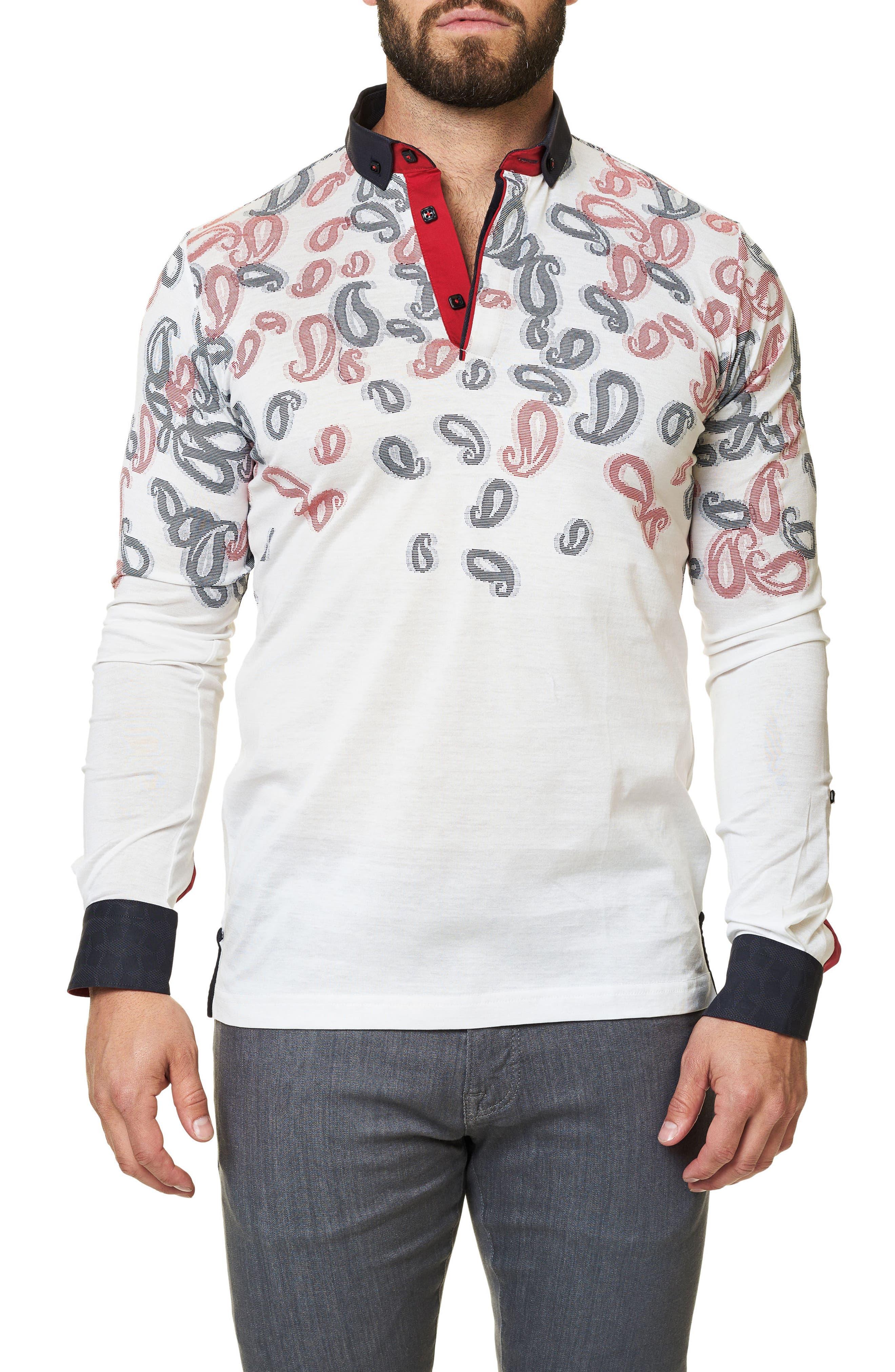 Paisley Long Sleeve Polo,                         Main,                         color,