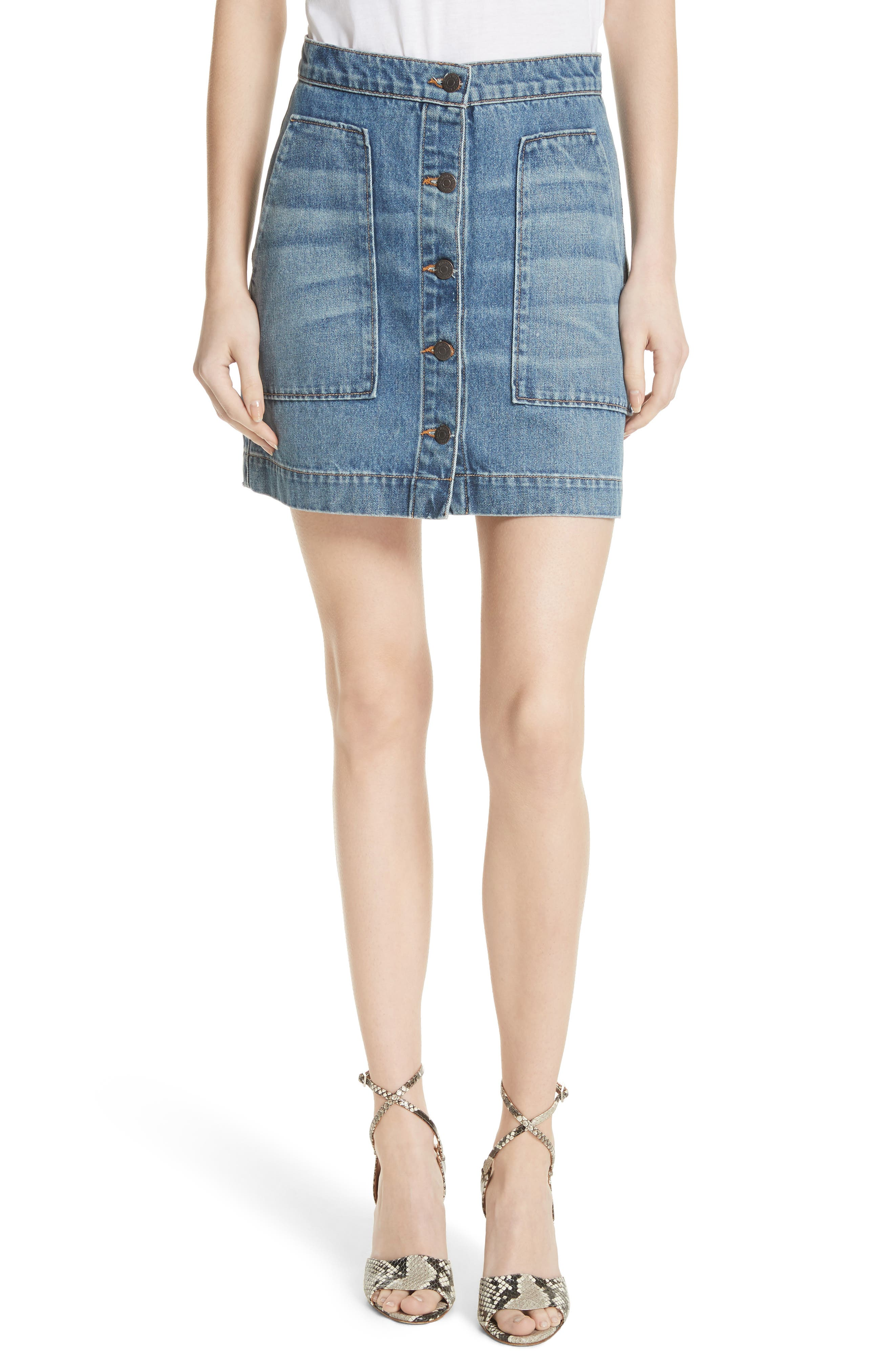VERONICA BEARD,                             Getty Denim Skirt,                             Main thumbnail 1, color,                             499