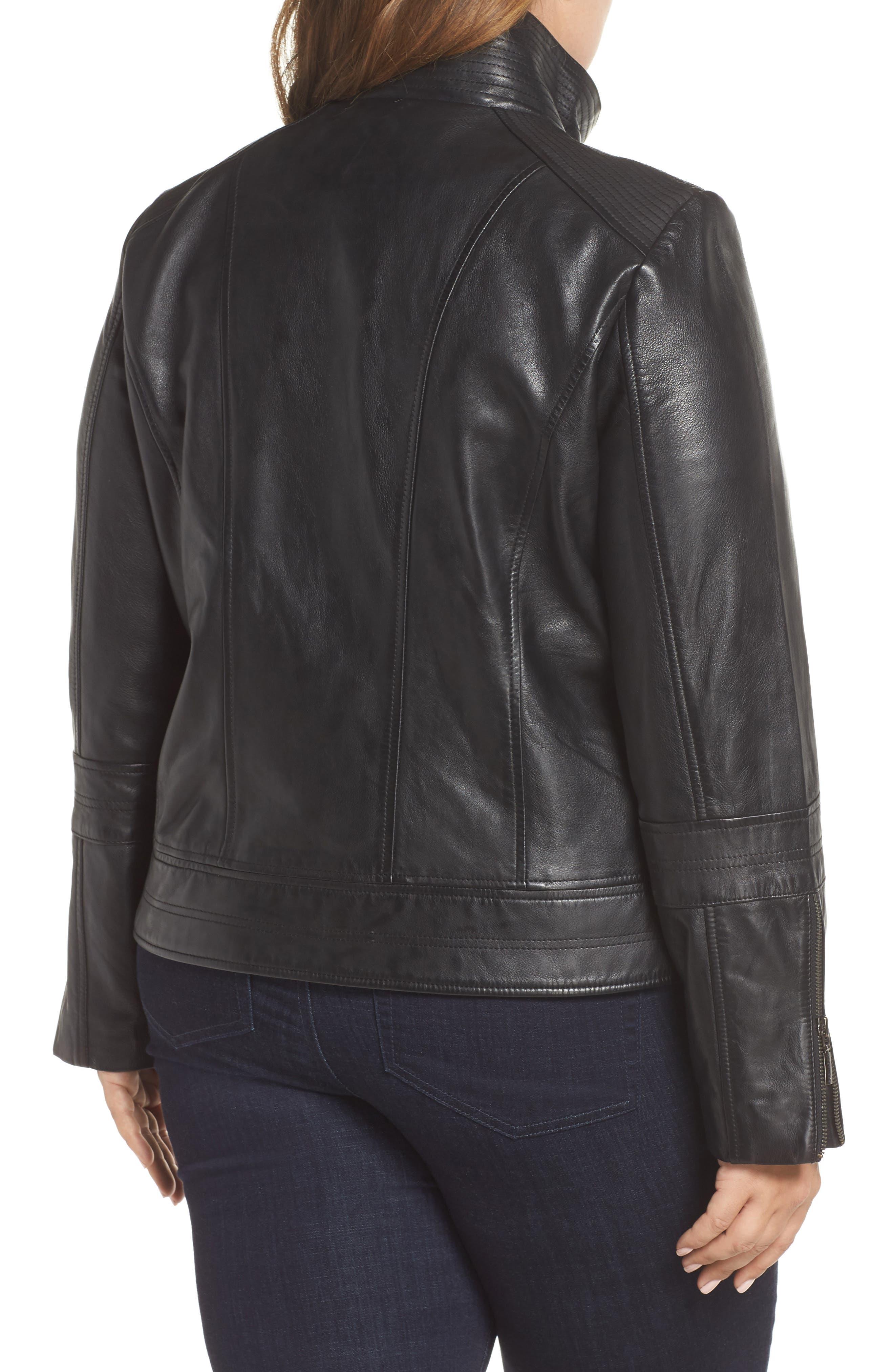 Lambskin Leather Moto Jacket,                             Alternate thumbnail 2, color,                             BLACK