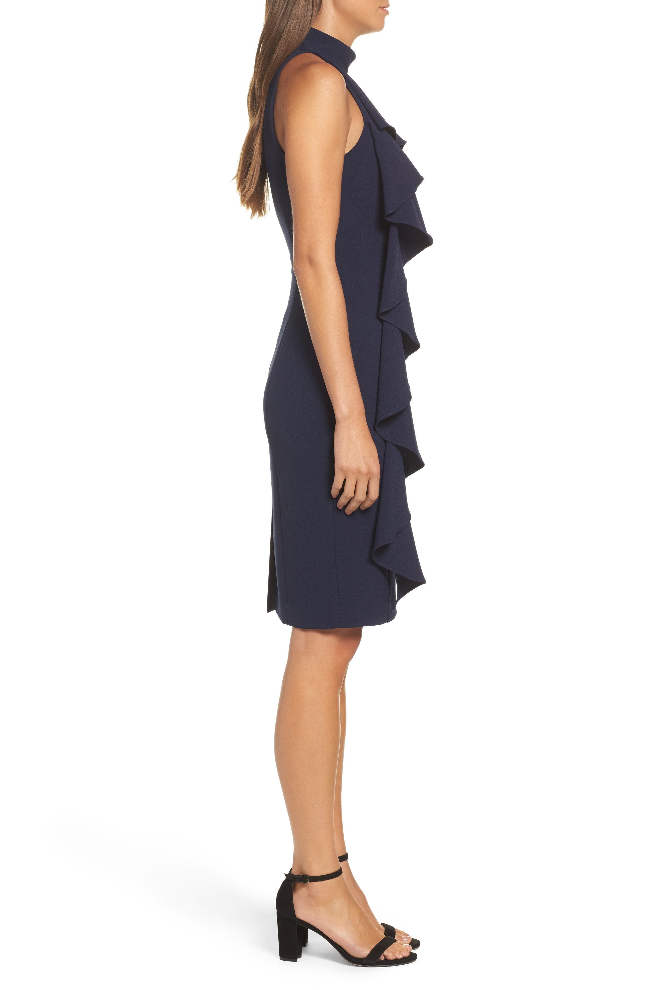 Ruffle Sheath Dress,                             Alternate thumbnail 3, color,                             NAVY
