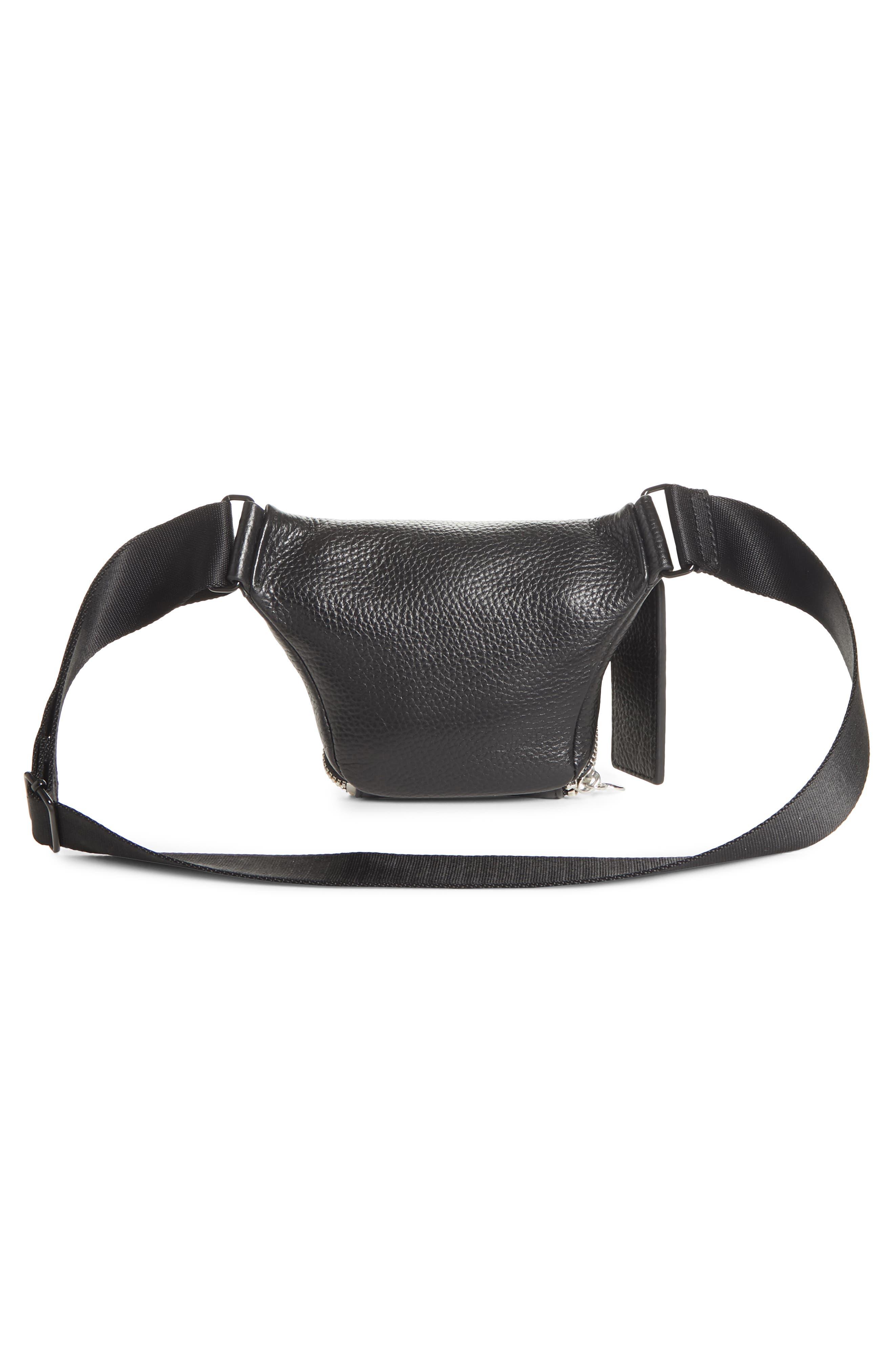 Leather Bum Bag,                             Alternate thumbnail 3, color,                             BLACK