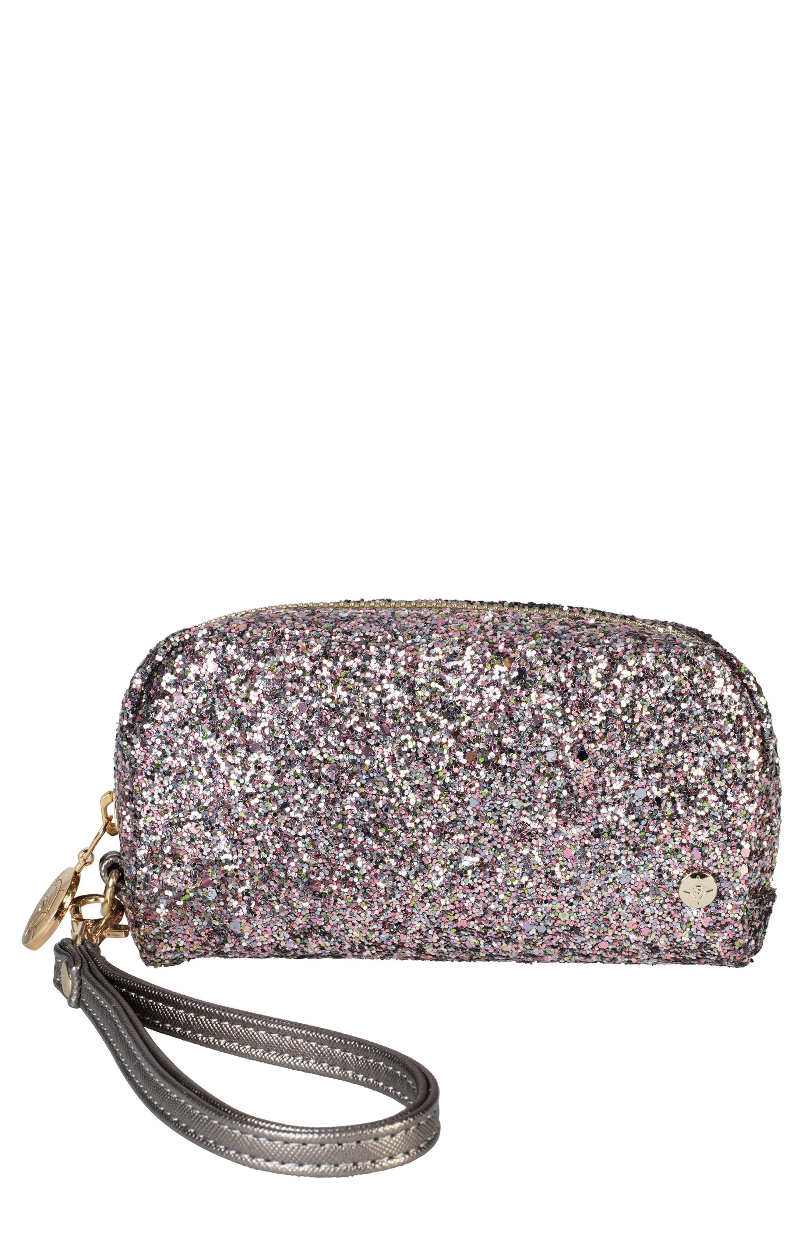 STEPHANIE JOHNSON Sparkle Mini Wristlet in Hollywood Pink