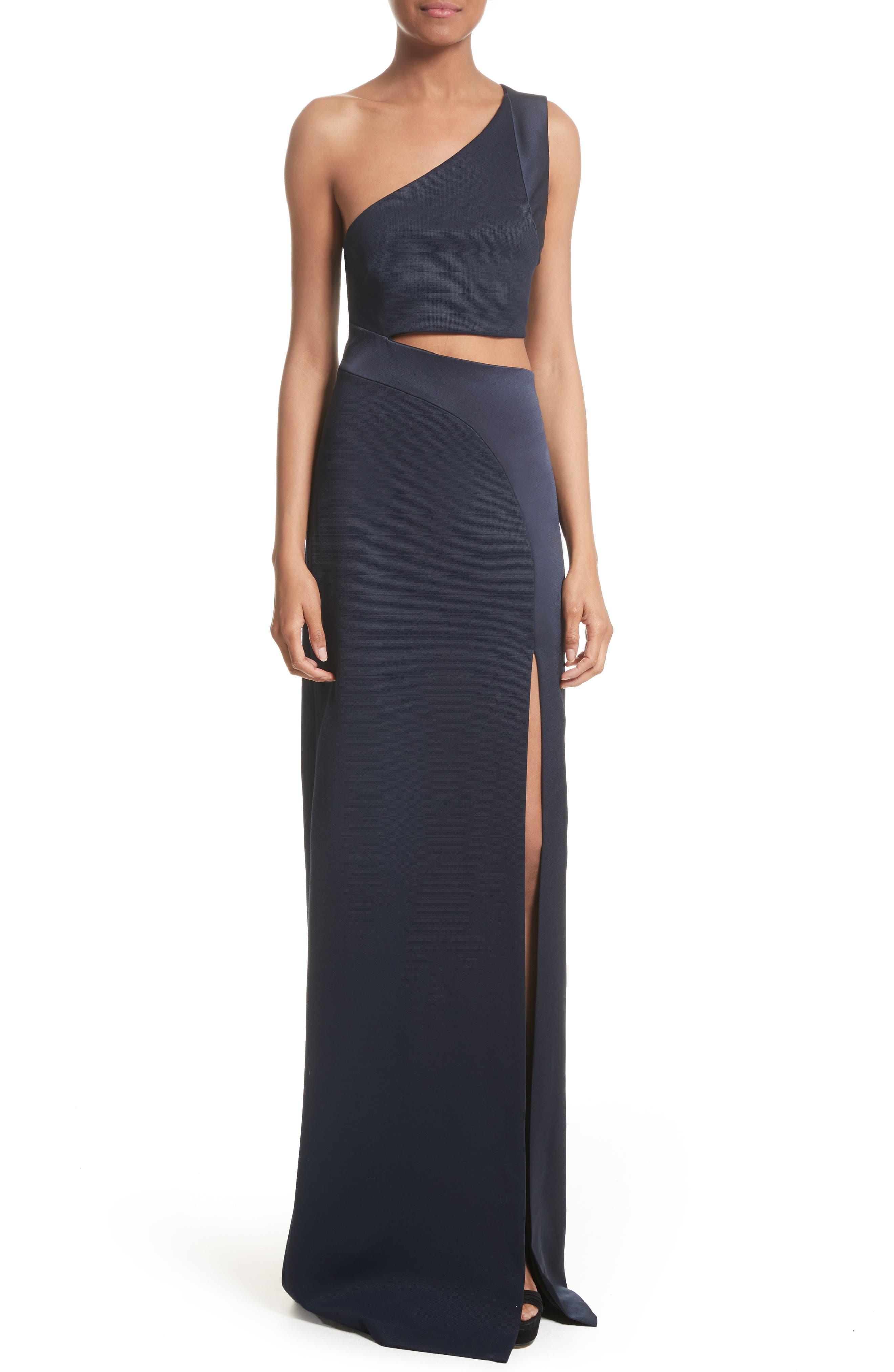 Cutout One-Shoulder Gown,                         Main,                         color,
