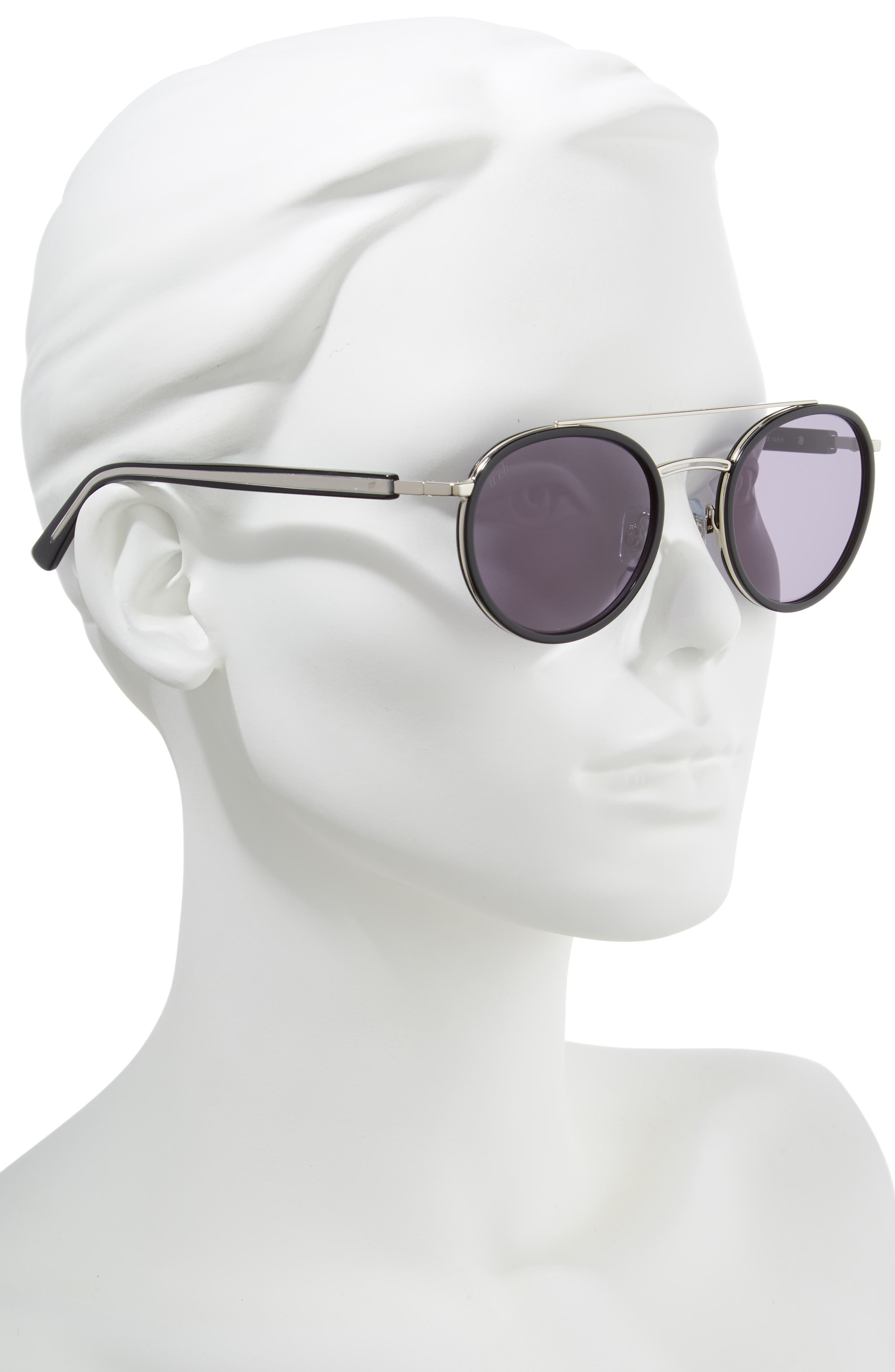 52mm Aviator Sunglasses,                             Alternate thumbnail 2, color,                             SHINY BLACK/ SMOKE