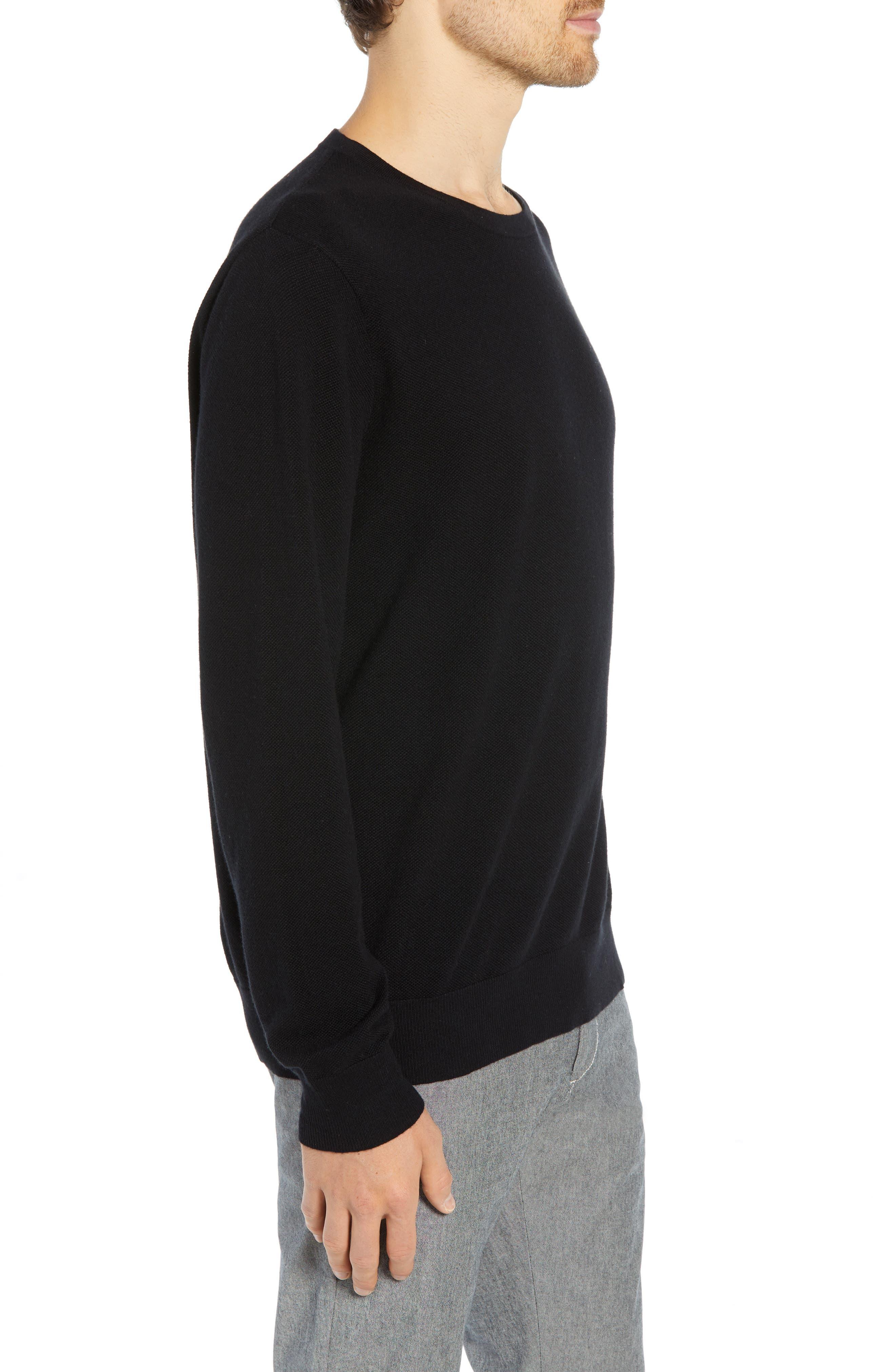 Cotton & Cashmere Piqué Crewneck Sweater,                             Alternate thumbnail 3, color,                             001