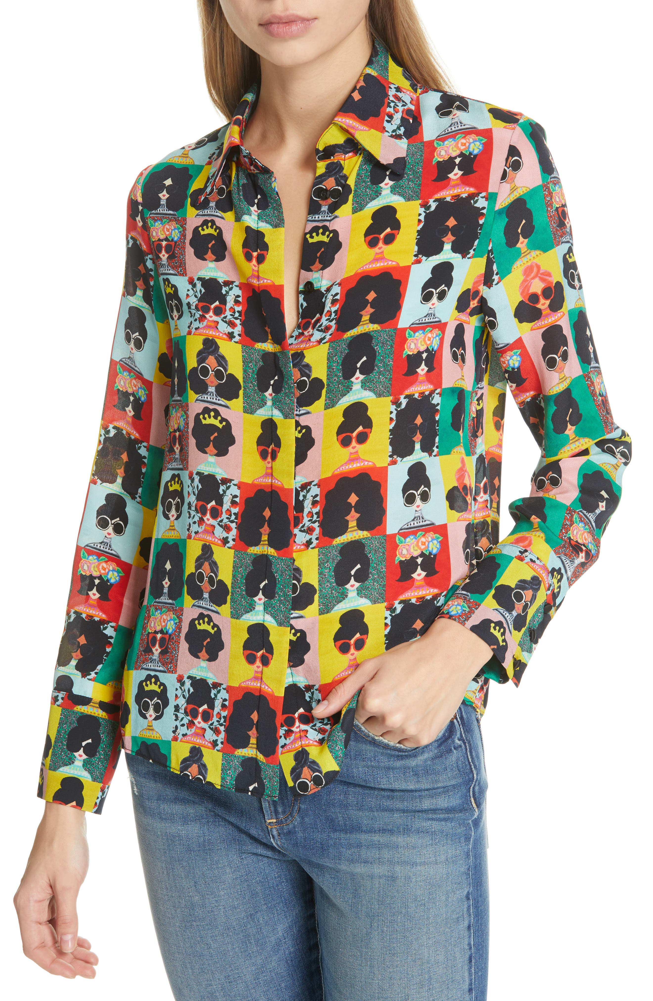 a5e93eee5f888 Alice And Olivia Willa Stace Face Silk Placket Top In Stace Face Photo ...