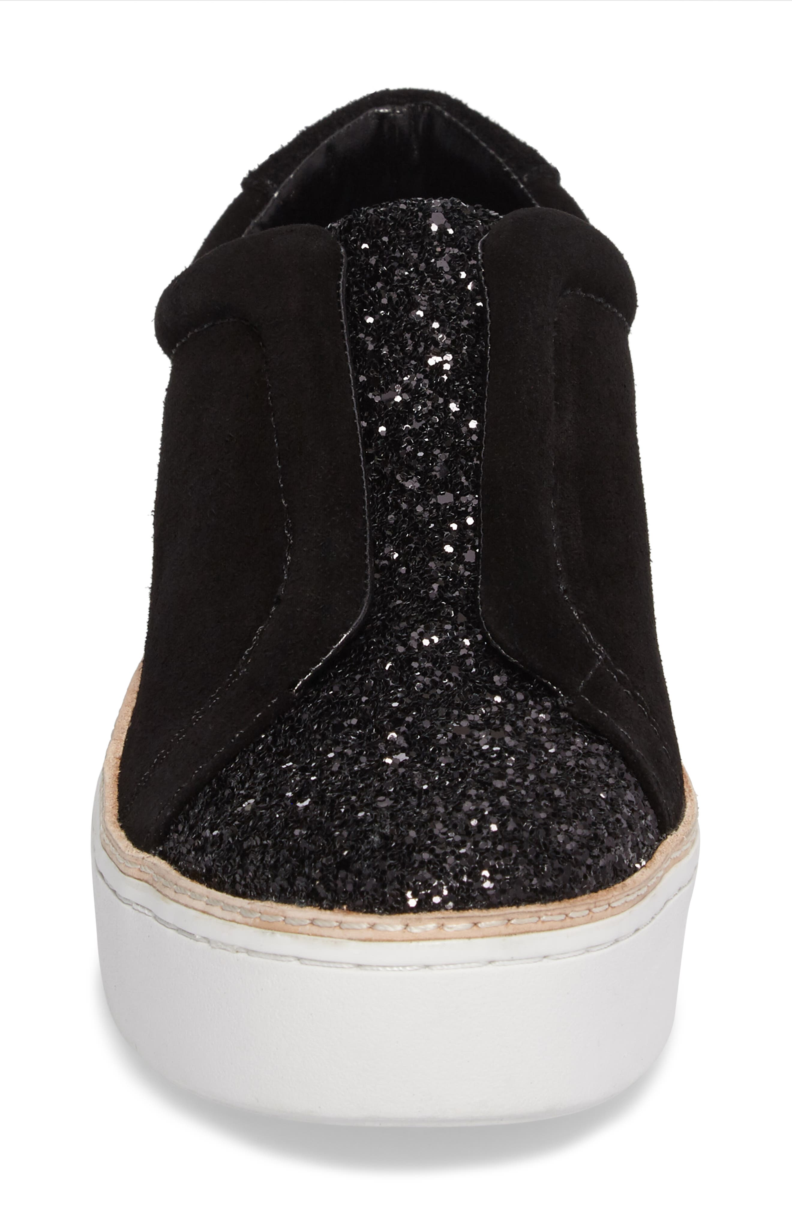 M4D3 Super Slip-On Sneaker,                             Alternate thumbnail 4, color,                             BLACK GLITTER LEATHER