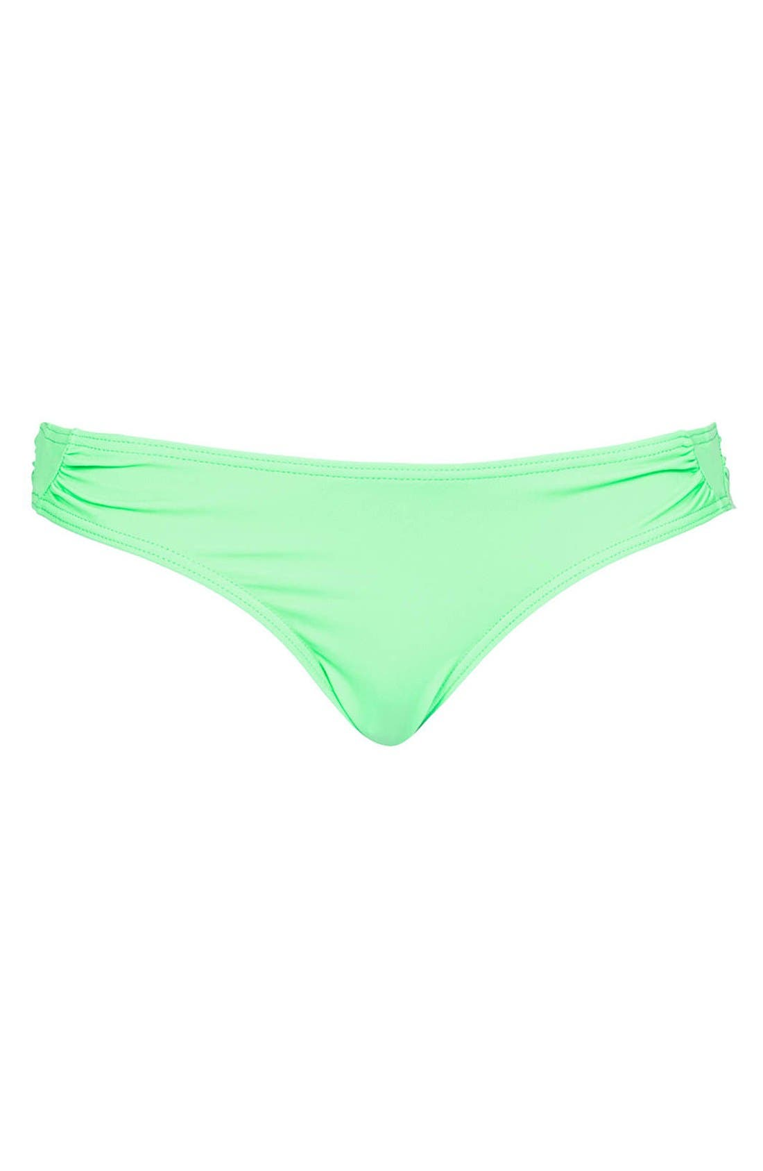 TOPSHOP,                             'Diamond' Side Ruched Bikini Bottoms,                             Main thumbnail 1, color,                             320