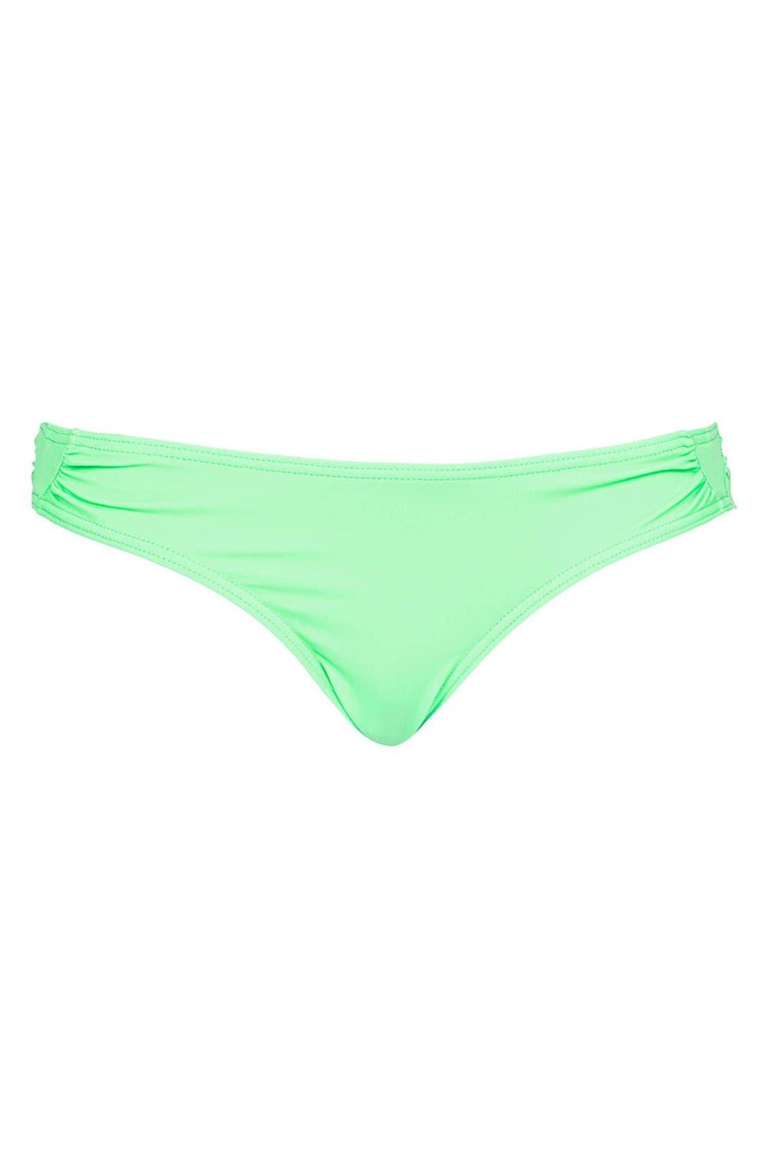 TOPSHOP 'Diamond' Side Ruched Bikini Bottoms, Main, color, 320