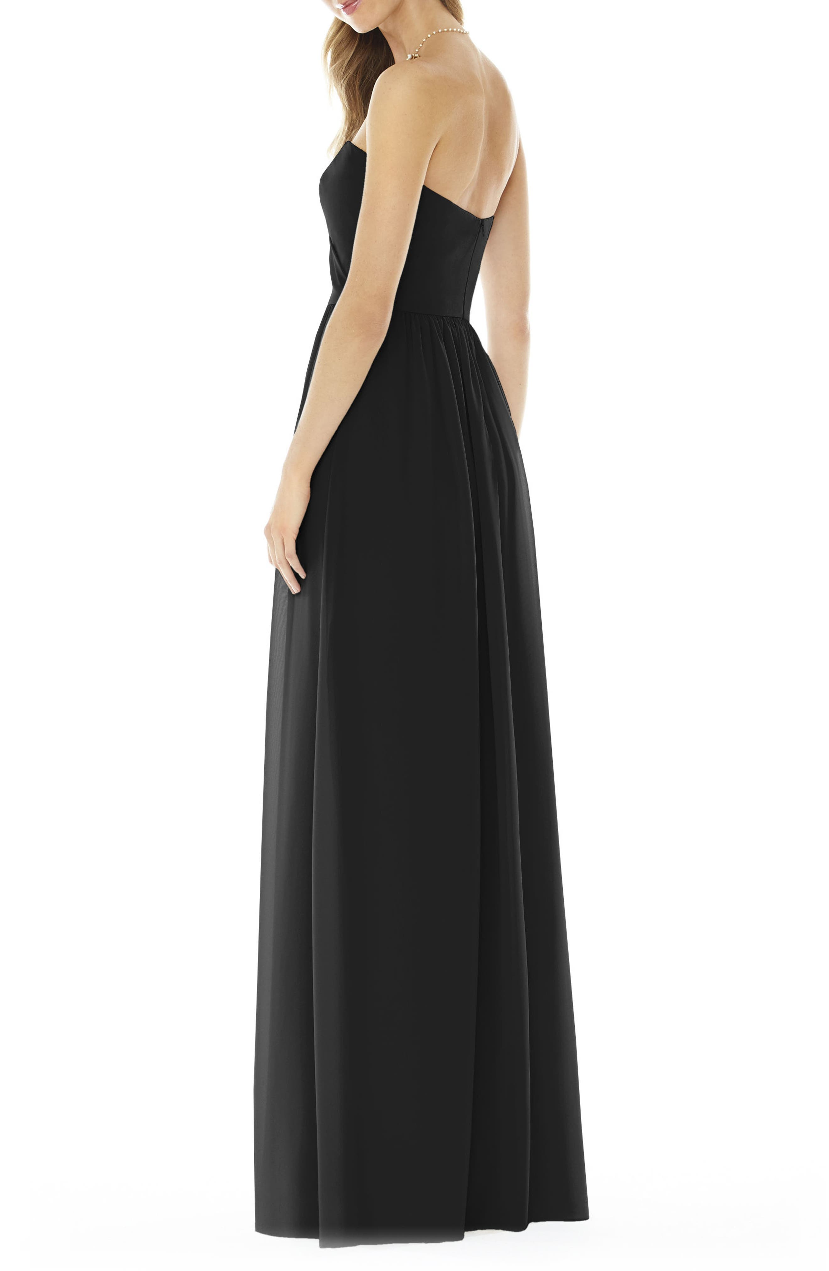Strapless Georgette Gown,                             Alternate thumbnail 2, color,                             BLACK