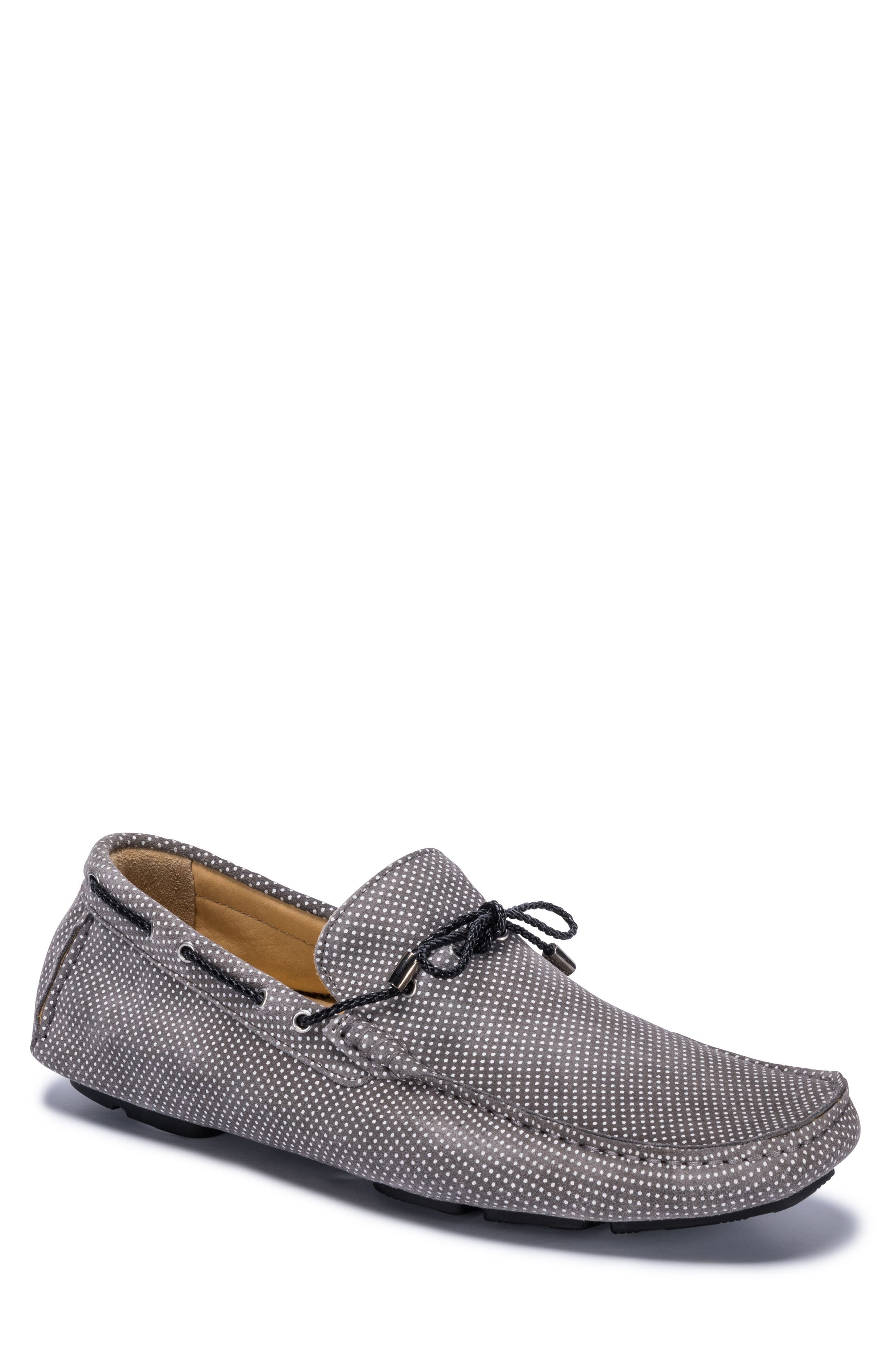 Sanremo Patterned Driving Loafer,                         Main,                         color, GREY SUEDE