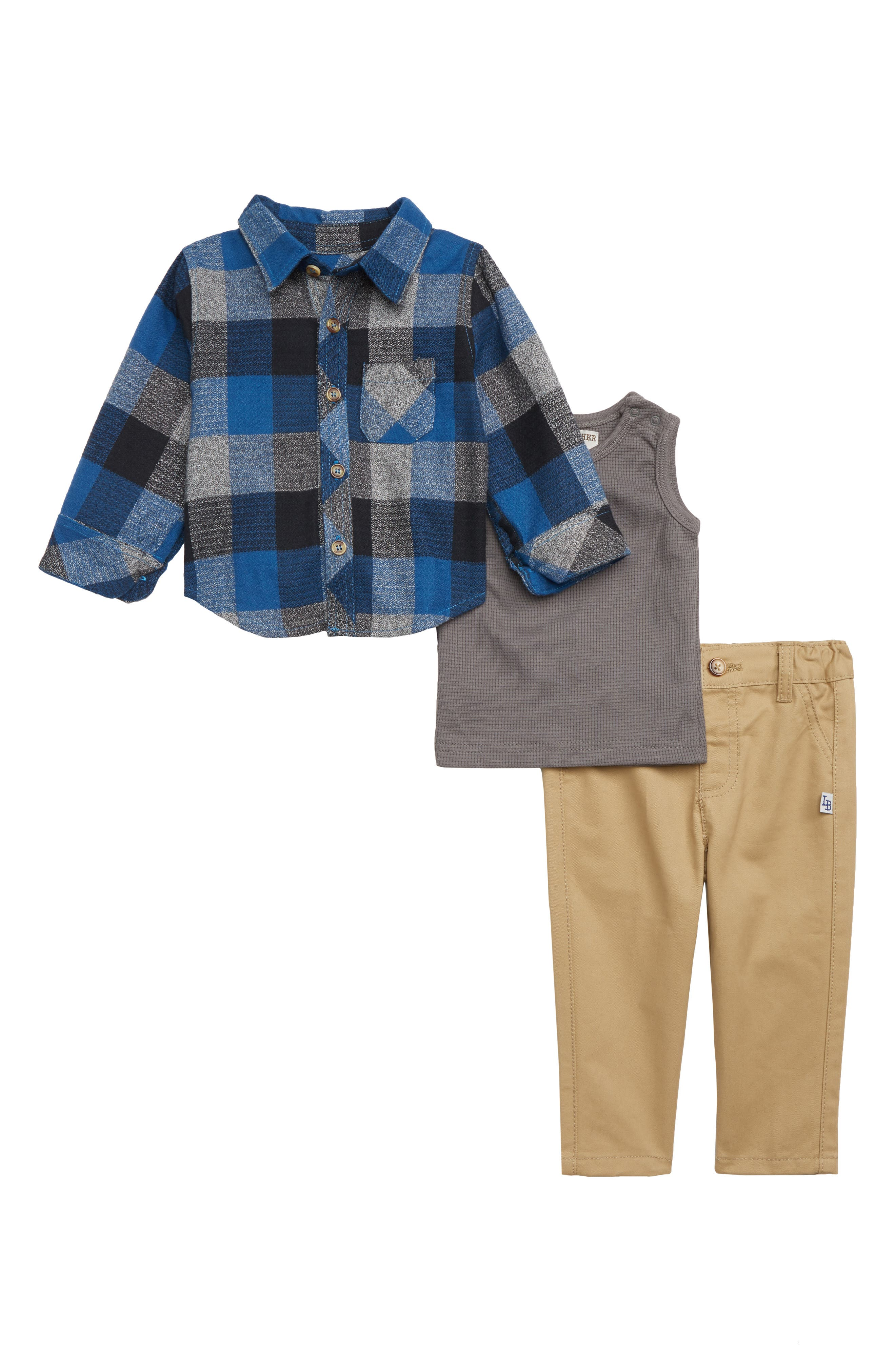 Infant Boys Little Brother By Pippa  Julie Plaid Shirt Thermal Top  Sweatpants Set