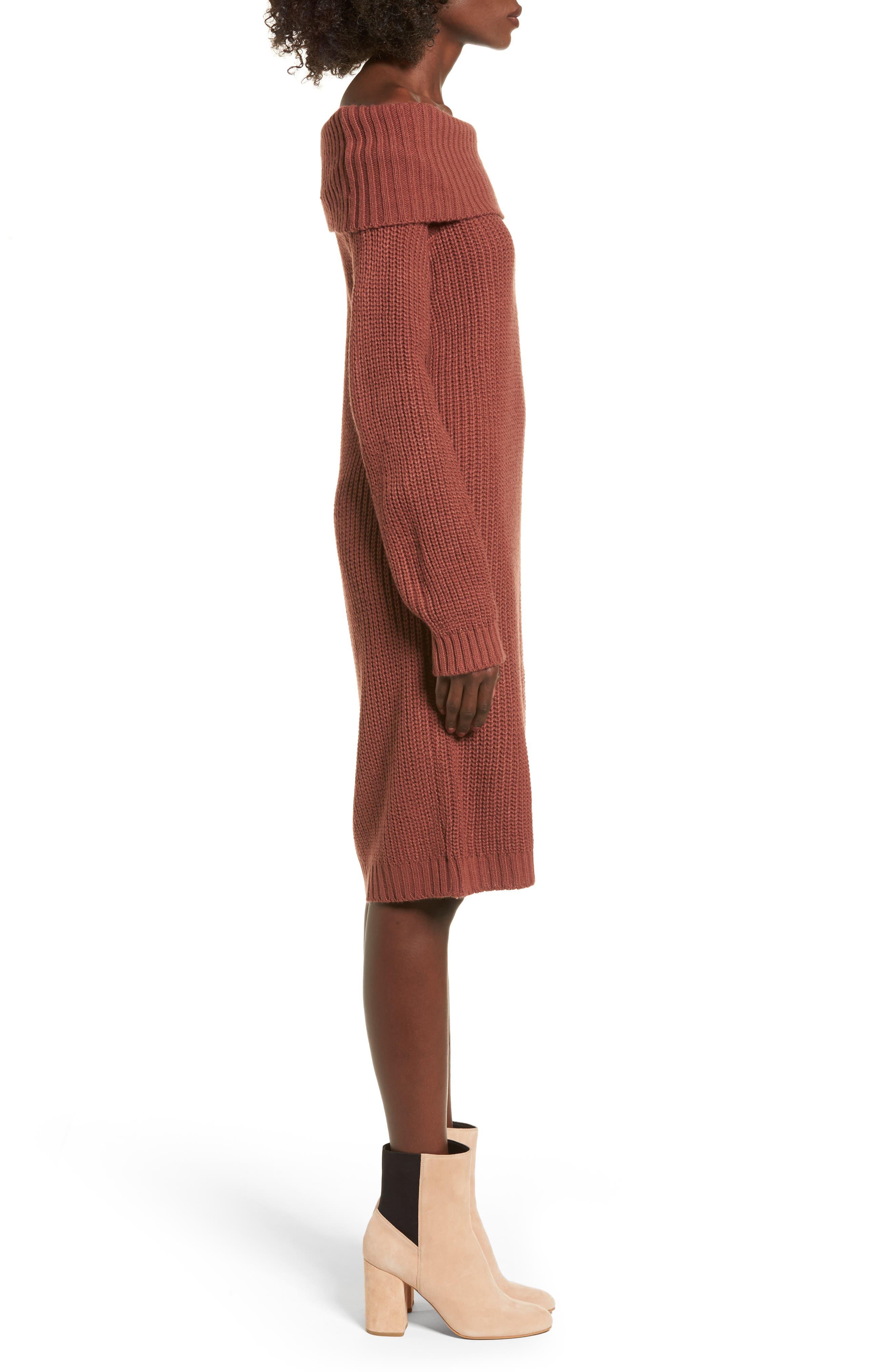Foldover Off the Shoulder Sweater Dress,                             Alternate thumbnail 11, color,