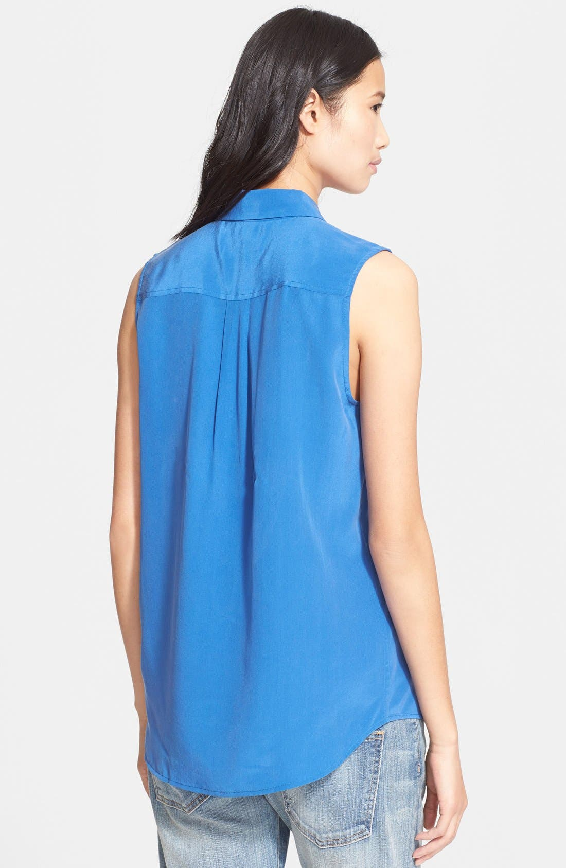'Slim Signature' Sleeveless Silk Shirt,                             Alternate thumbnail 120, color,