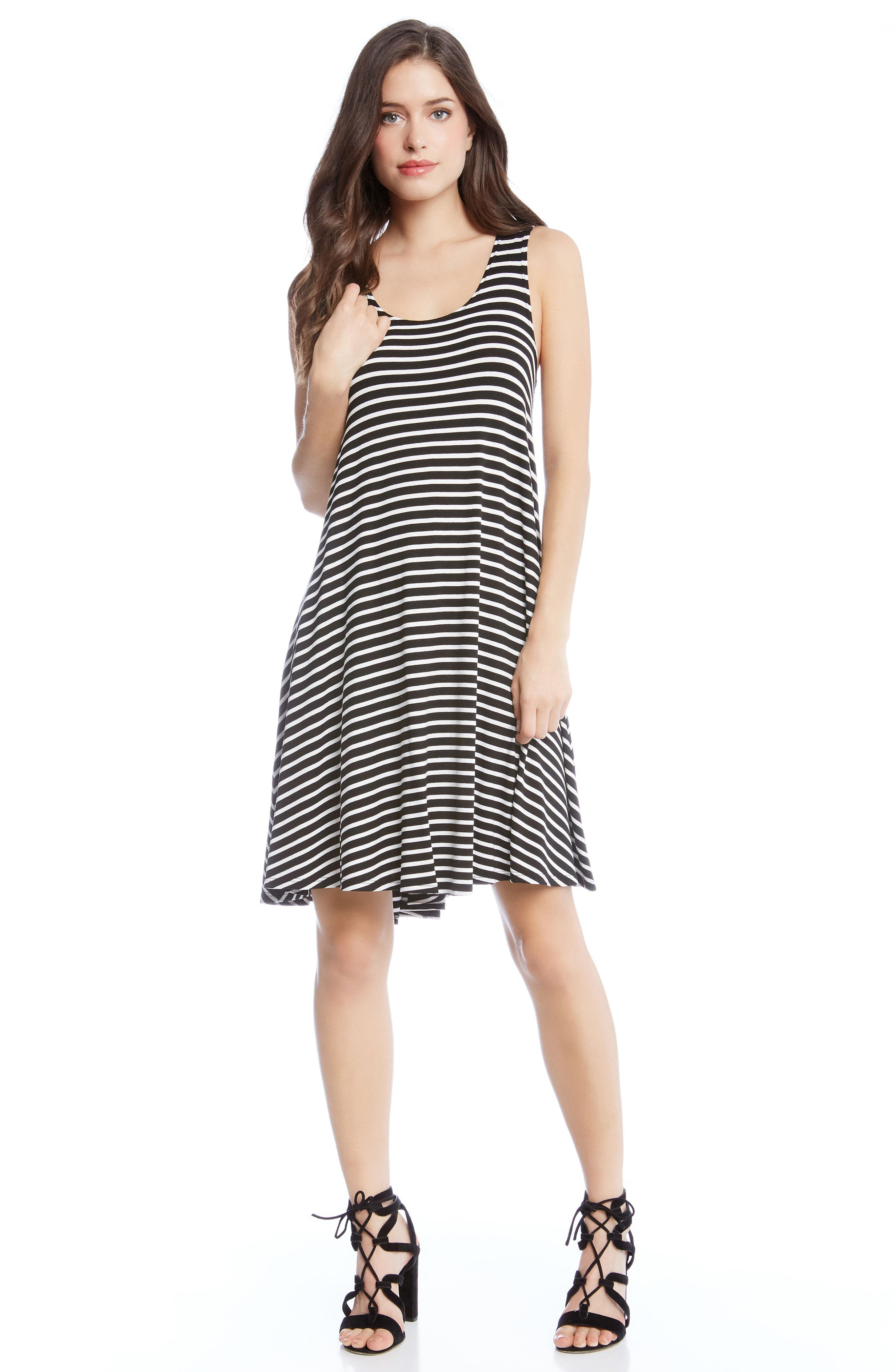 KAREN KANE,                             Stripe A-Line Dress,                             Alternate thumbnail 3, color,                             009