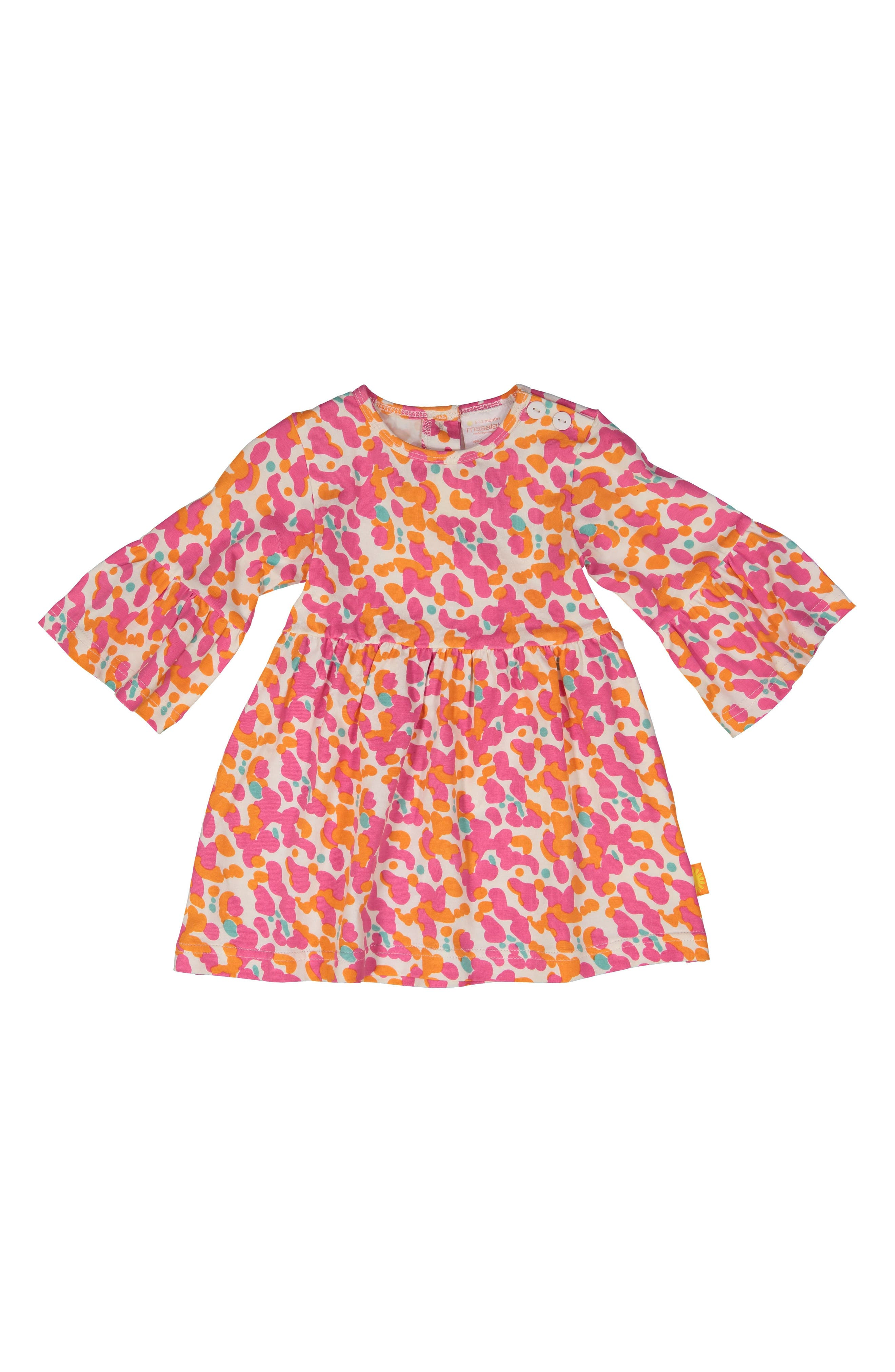 Spotted Stretch Organic Cotton Dress,                             Main thumbnail 1, color,                             PINK