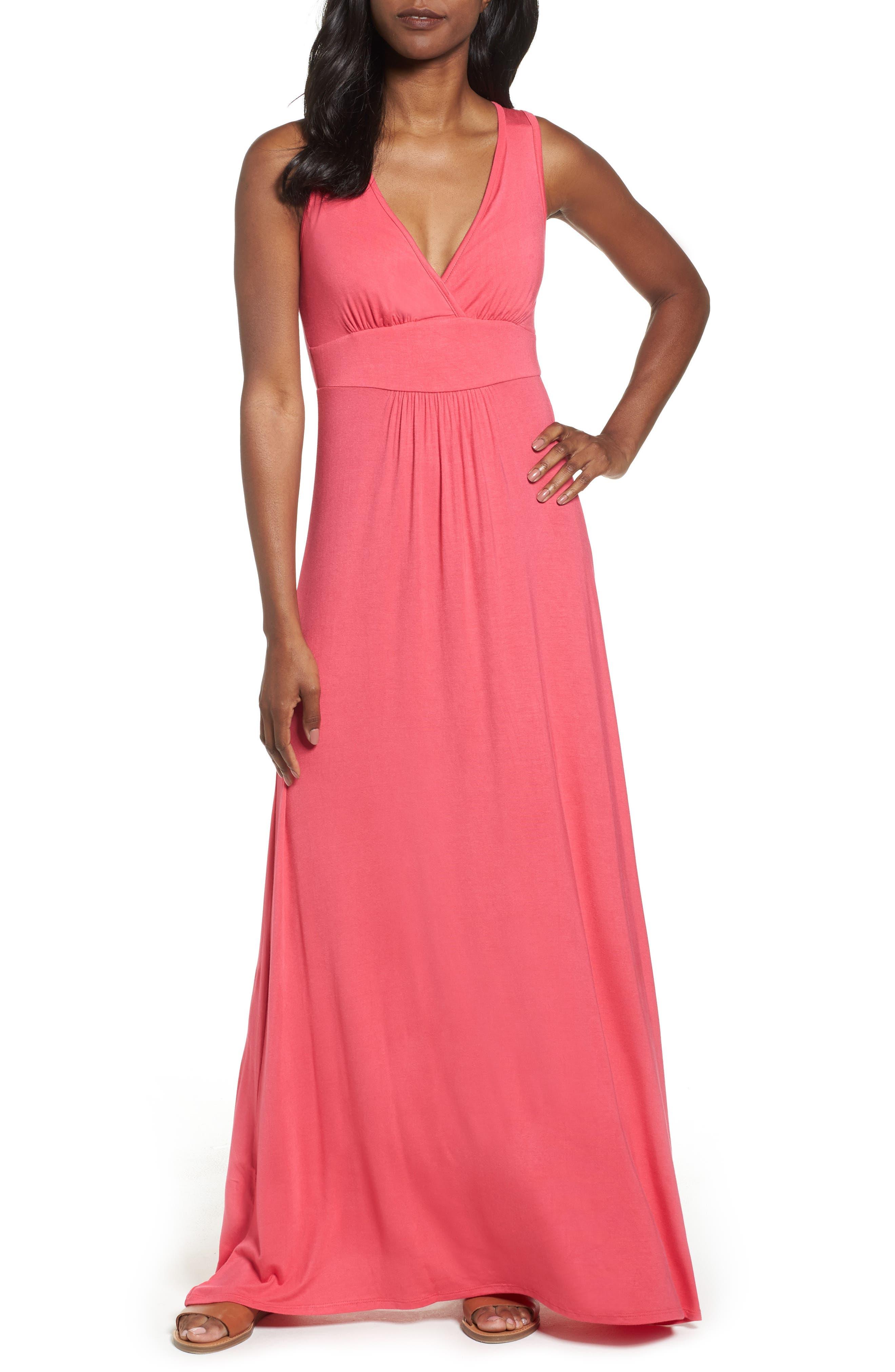 Loveappella V-Neck Jersey Maxi Dress, Pink
