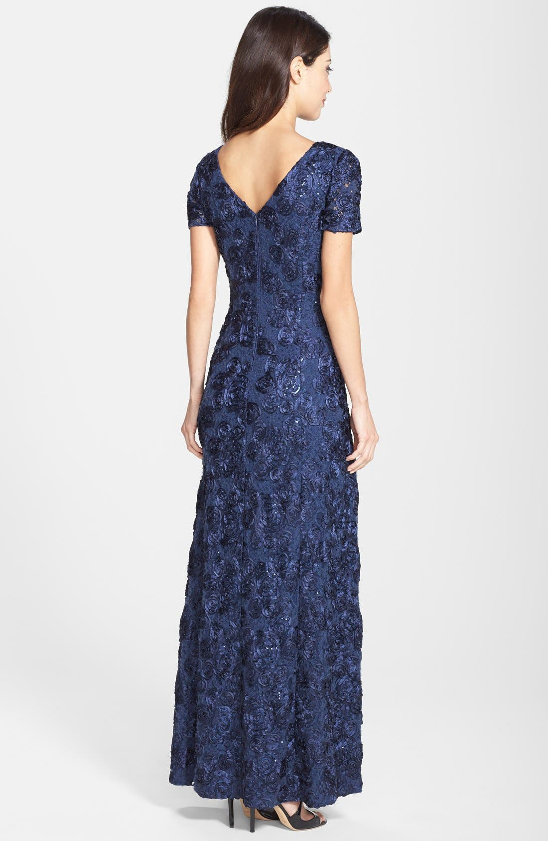 ALEX EVENINGS,                             Embellished Lace Gown,                             Alternate thumbnail 2, color,                             NAVY