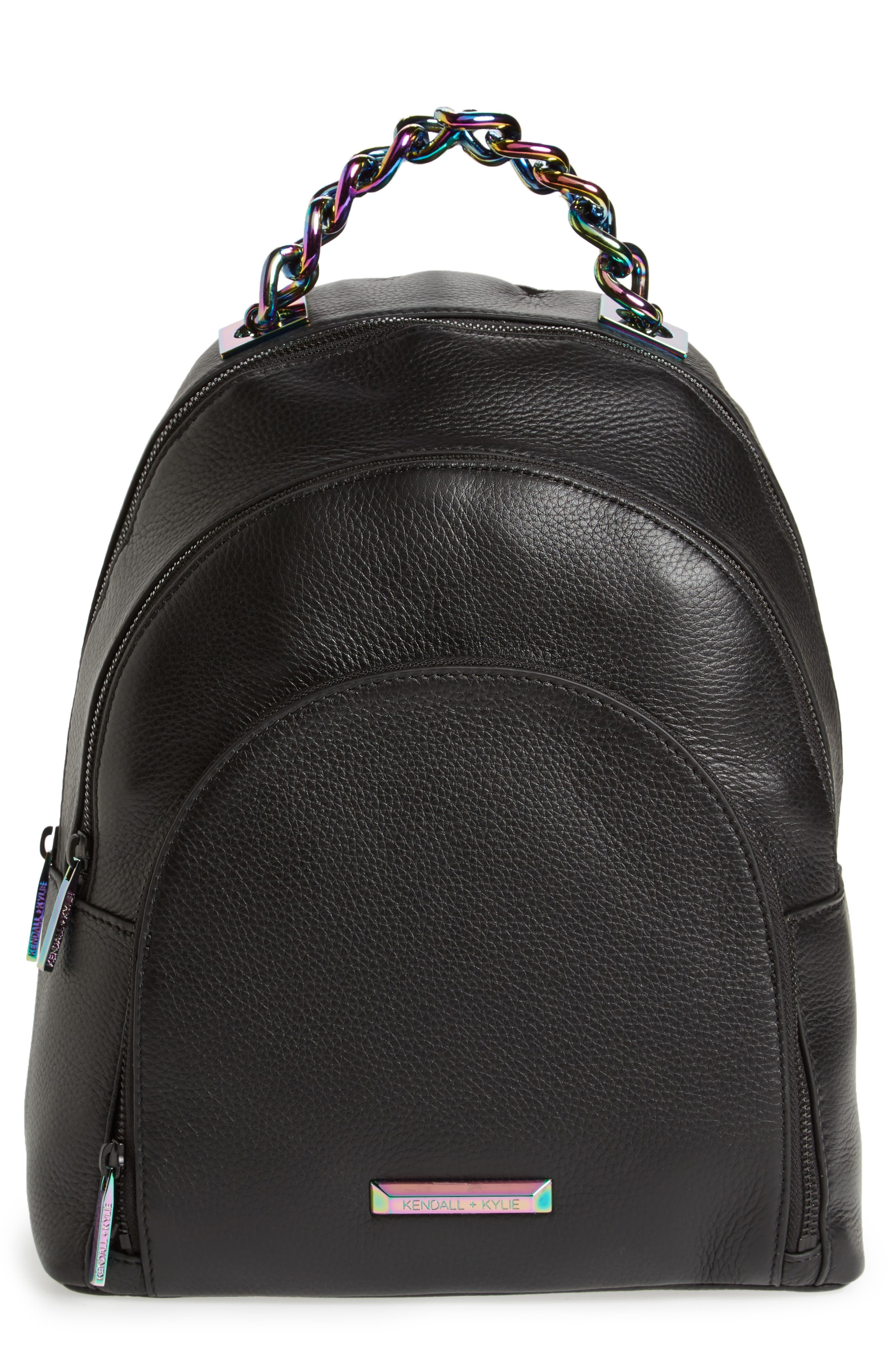 Sloane Iridescent Hardware Leather Backpack,                         Main,                         color,