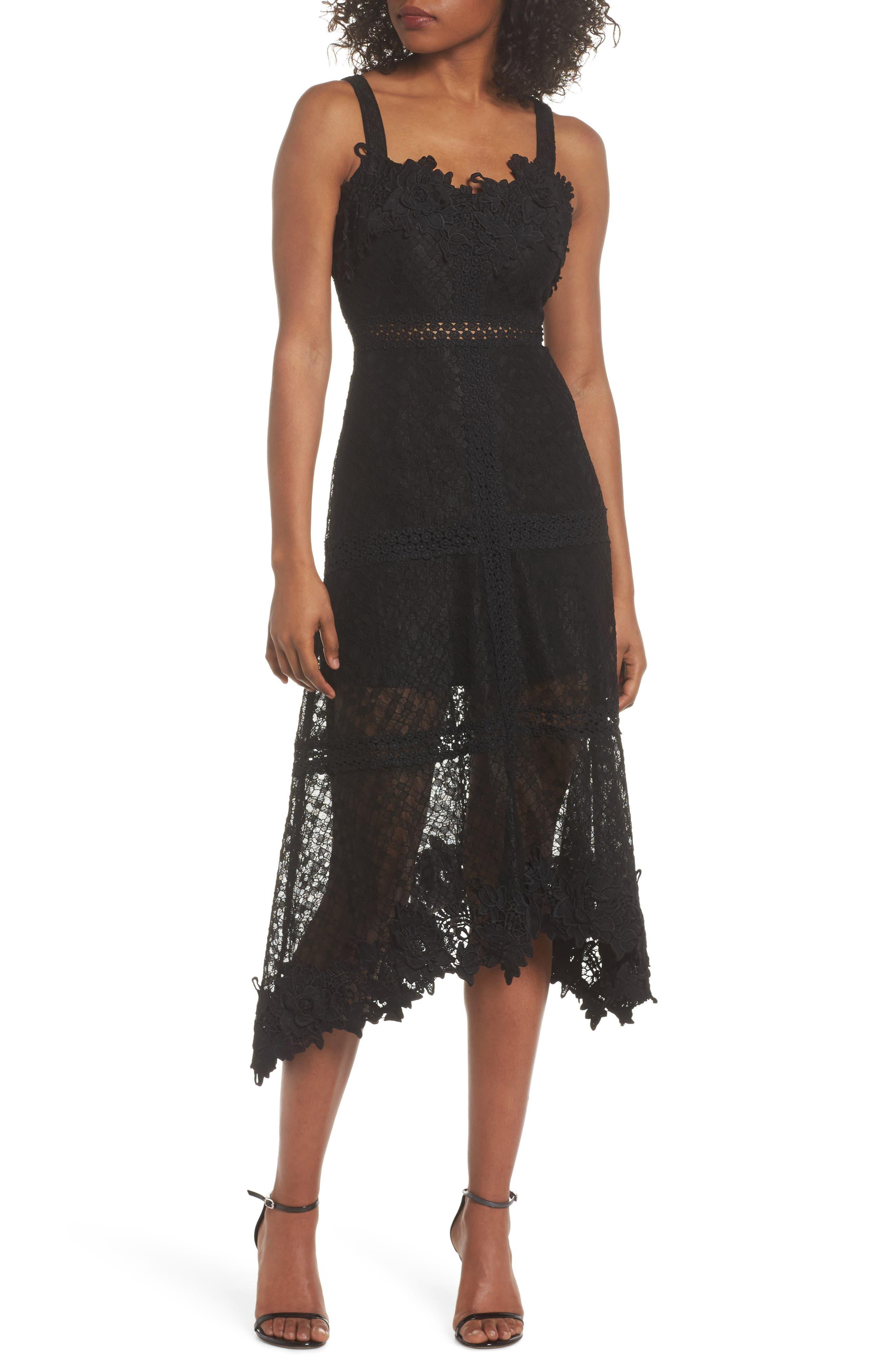 Angelisa Lace Midi Dress,                             Main thumbnail 1, color,                             BLACK