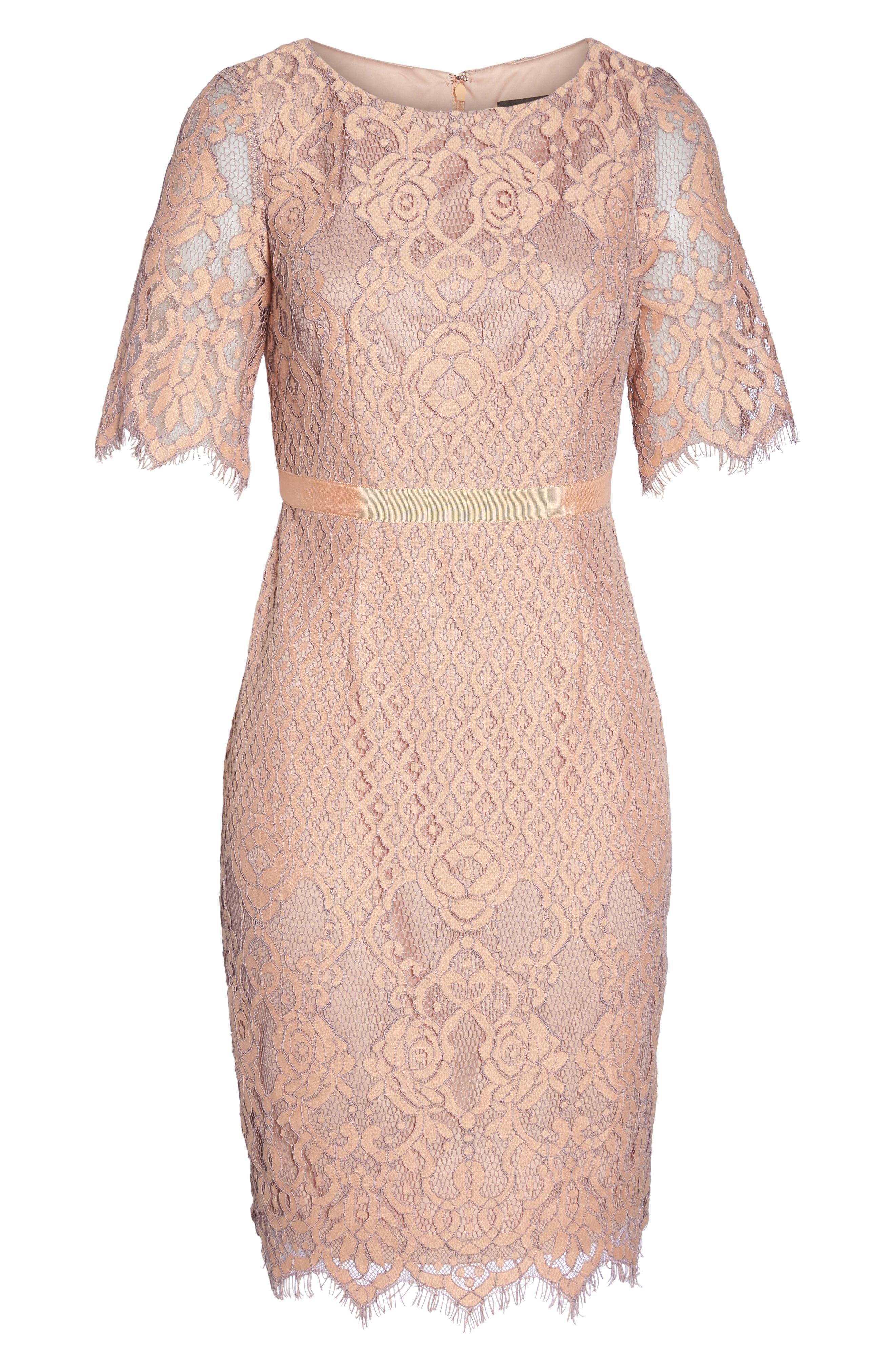 Lace Sheath Dress,                             Alternate thumbnail 6, color,                             950