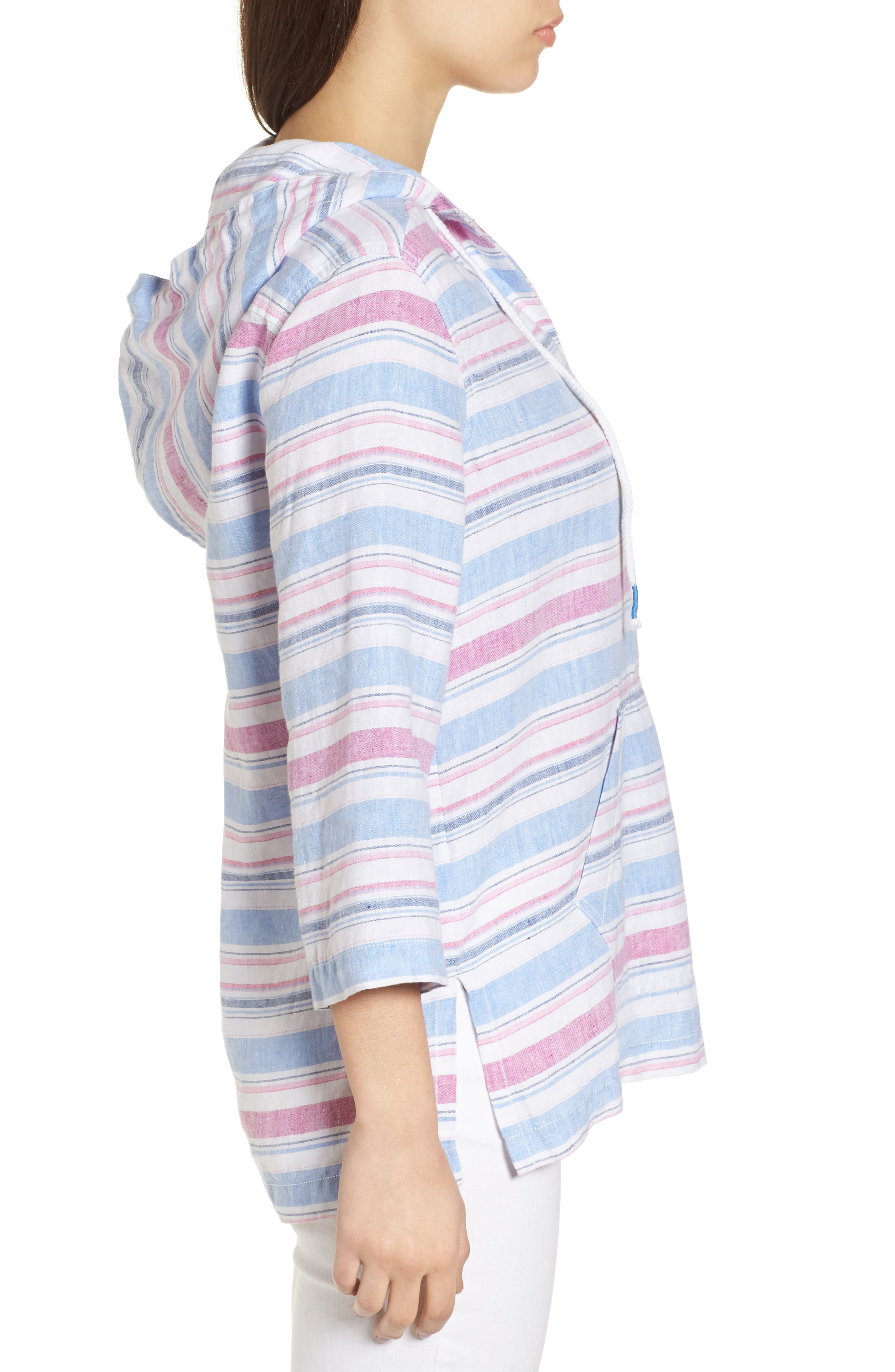 Tulum Stripe Linen Hoodie,                             Alternate thumbnail 3, color,                             MOUNTAIN BLUEBELL