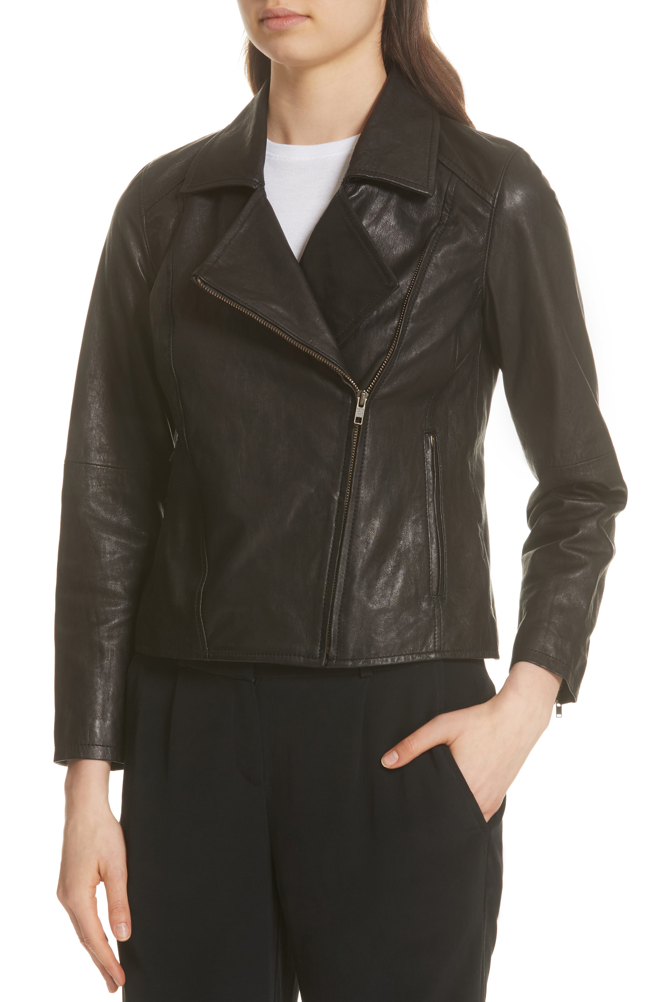 EILEEN FISHER,                             Leather Moto Jacket,                             Alternate thumbnail 4, color,                             001