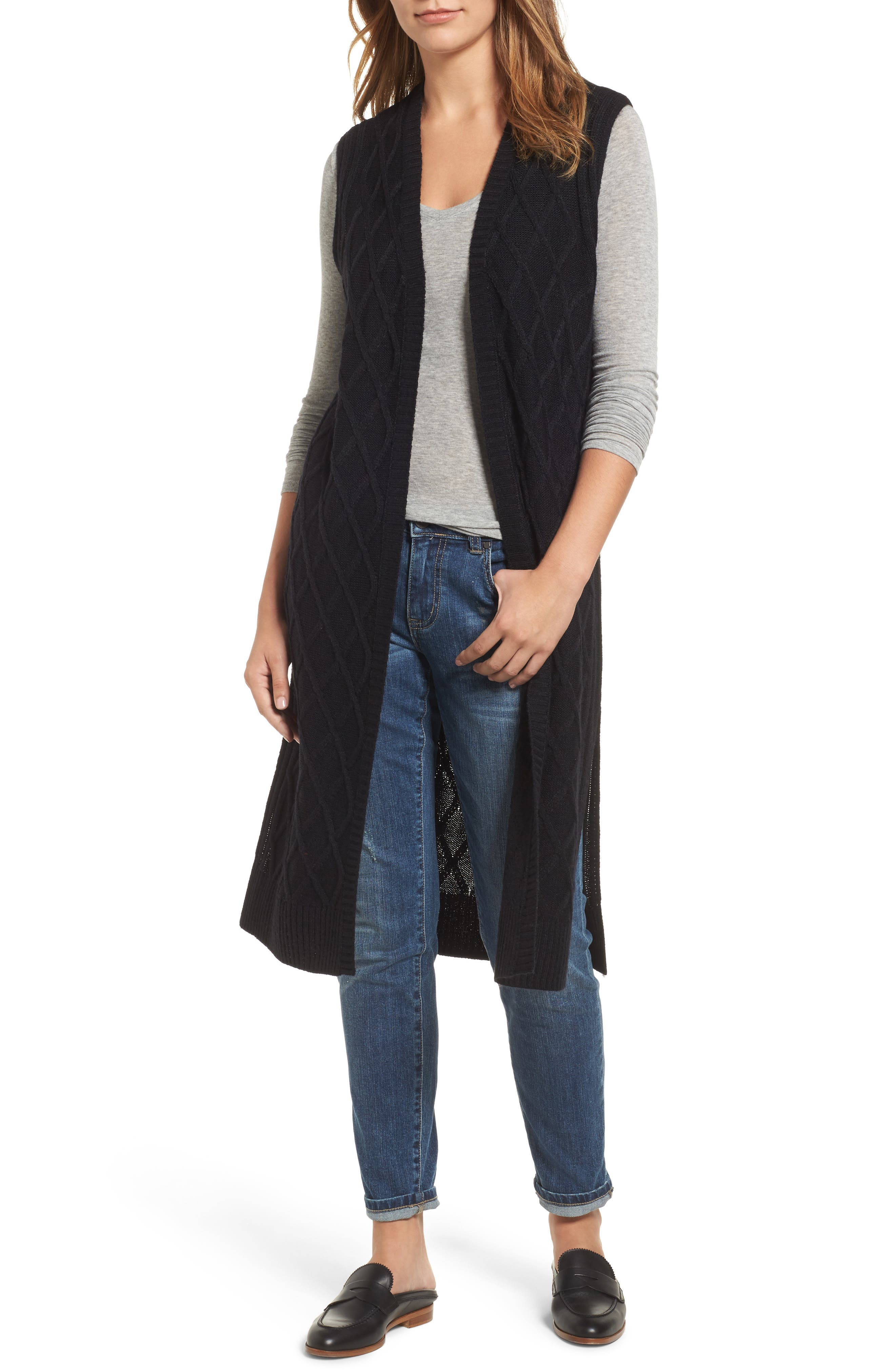 Cable Stitch Long Sweater Vest,                             Main thumbnail 1, color,                             001