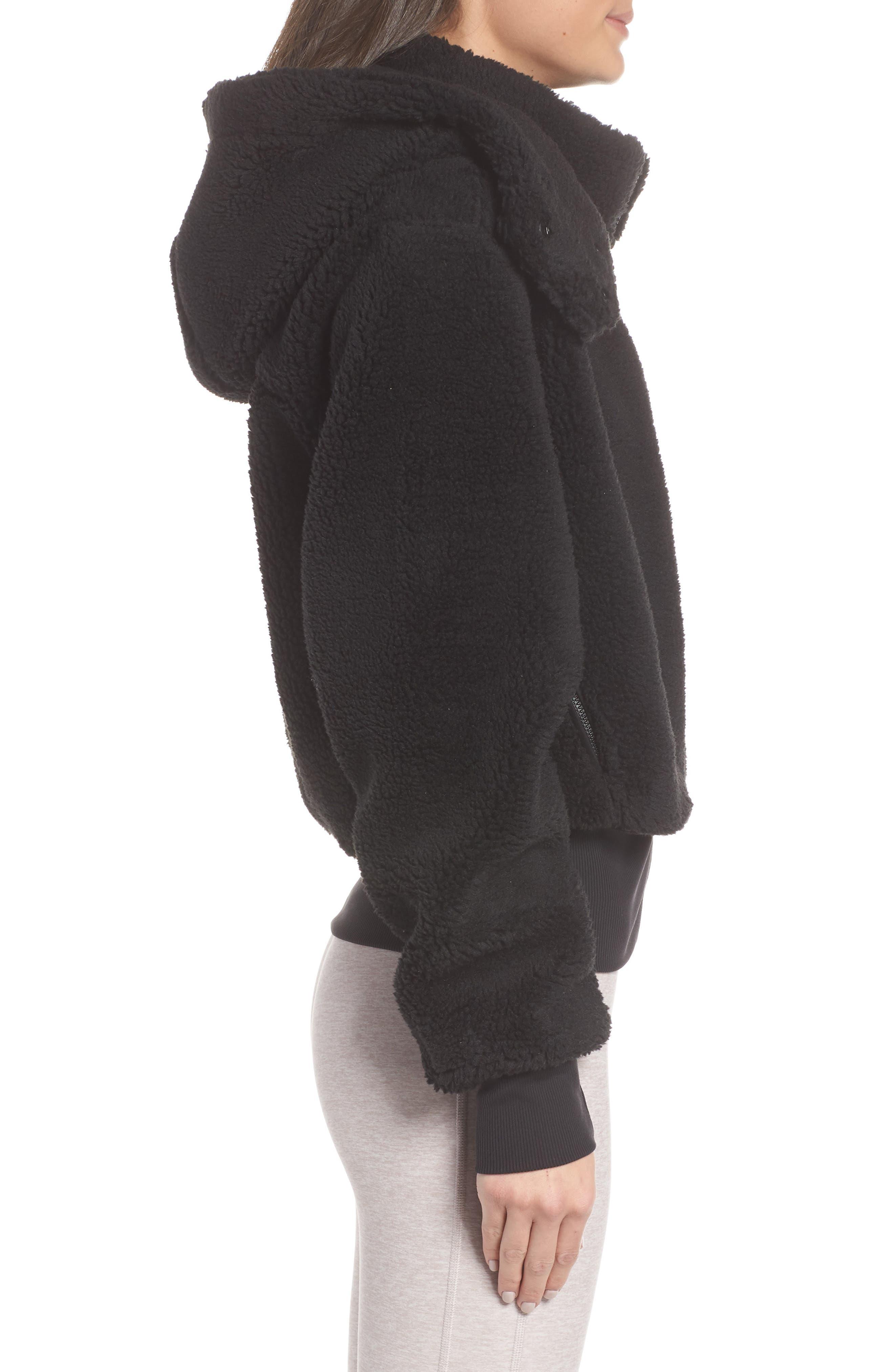 Foxy Faux Fur Jacket,                             Alternate thumbnail 3, color,                             BLACK