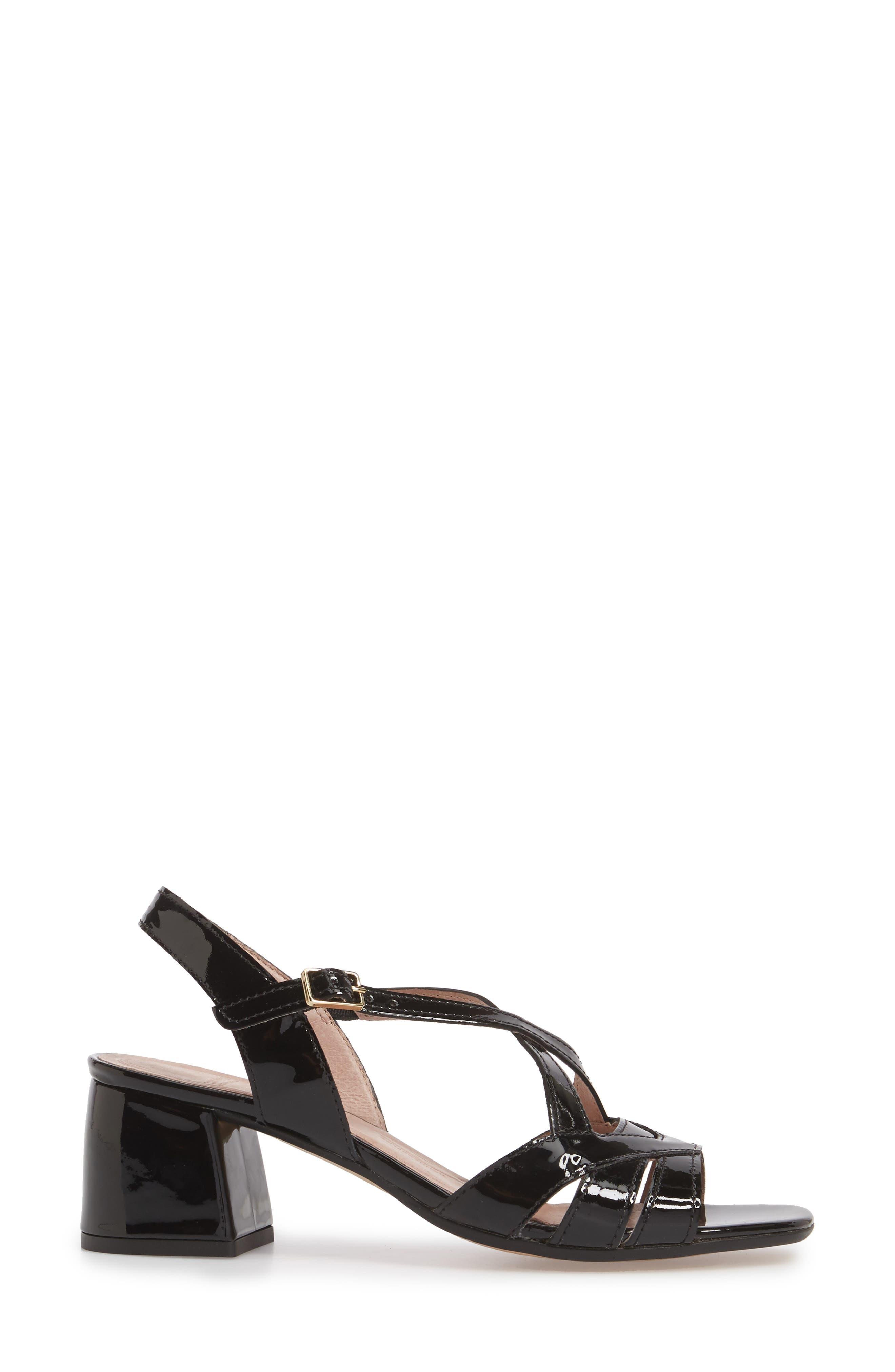 Block Heel Sandal,                             Alternate thumbnail 3, color,                             BLACK LEATHER