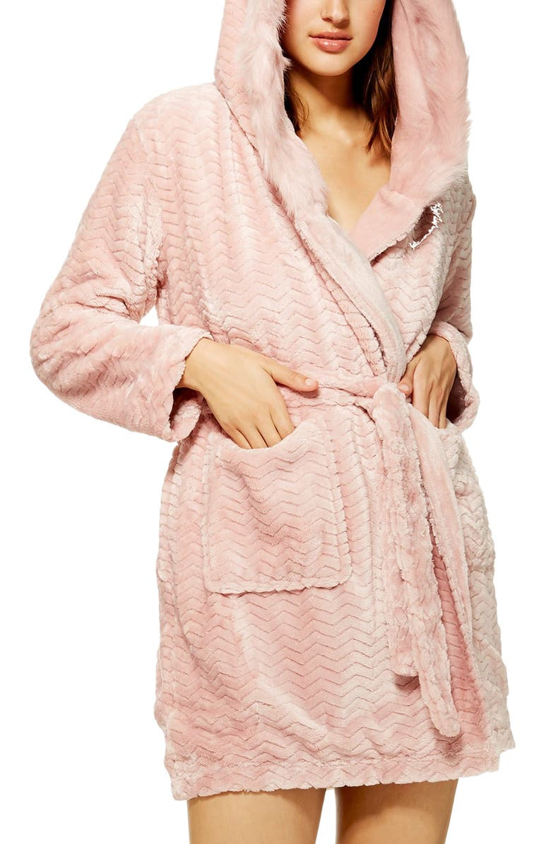 Kimmie Hooded Short Robe,                         Main,                         color, DUSTY PINK