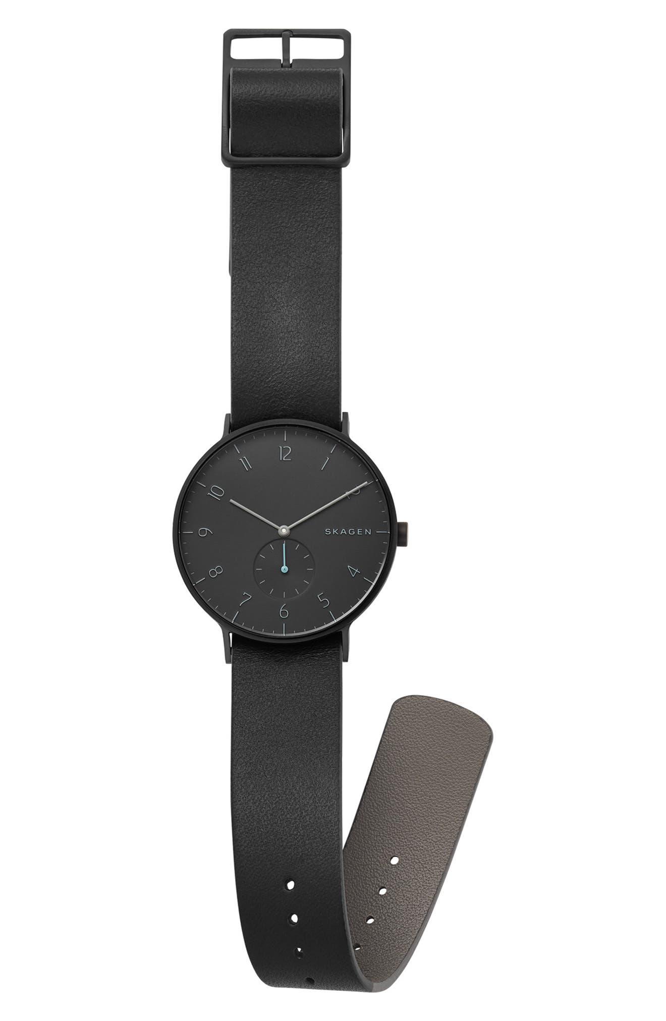 Aaren Reversible Leather Strap Watch, 40mm,                             Alternate thumbnail 3, color,                             BLACK