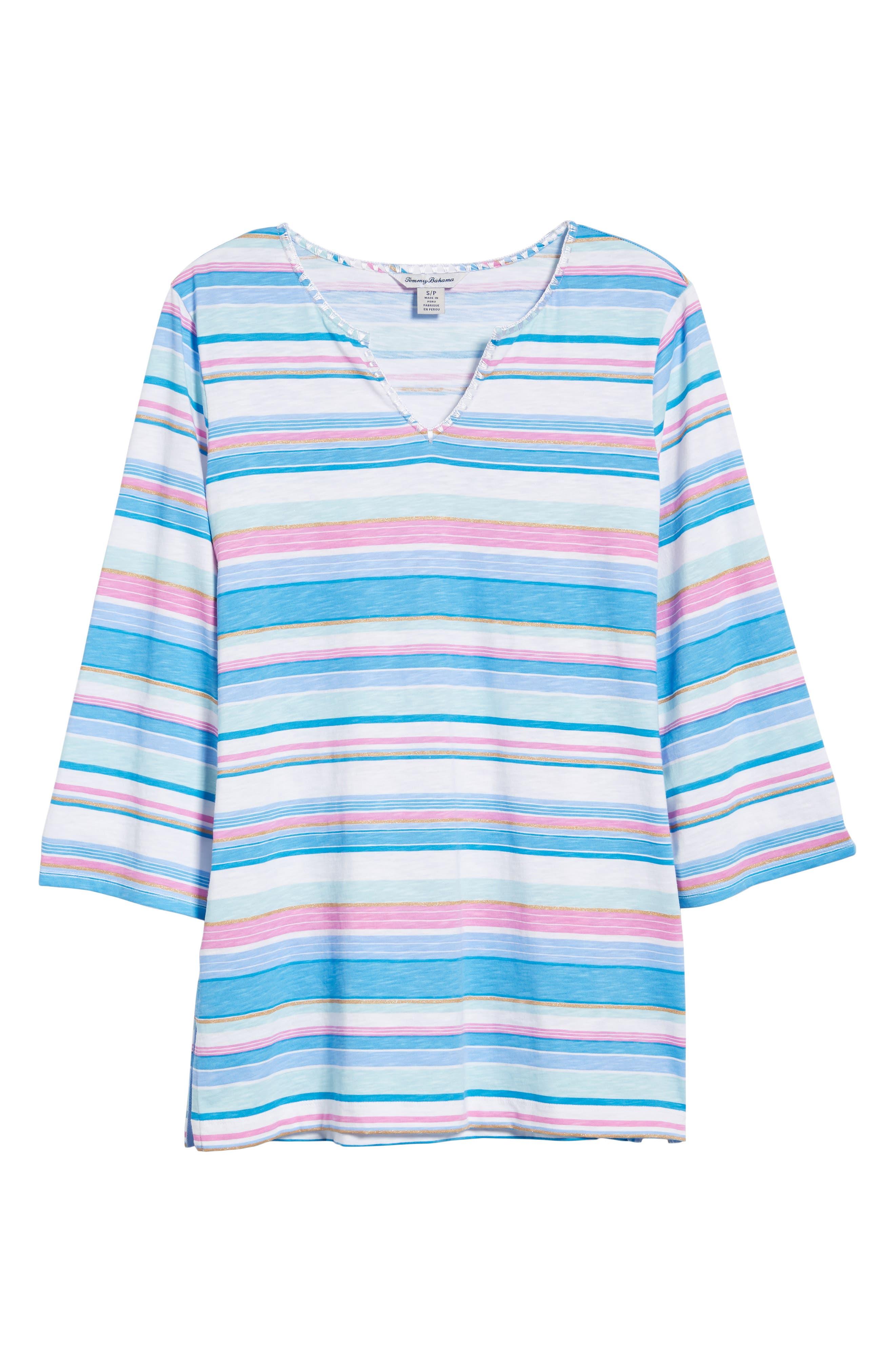 Festival Stripe Bell Sleeve Pima Cotton Top,                             Alternate thumbnail 6, color,                             BLUE ASTER