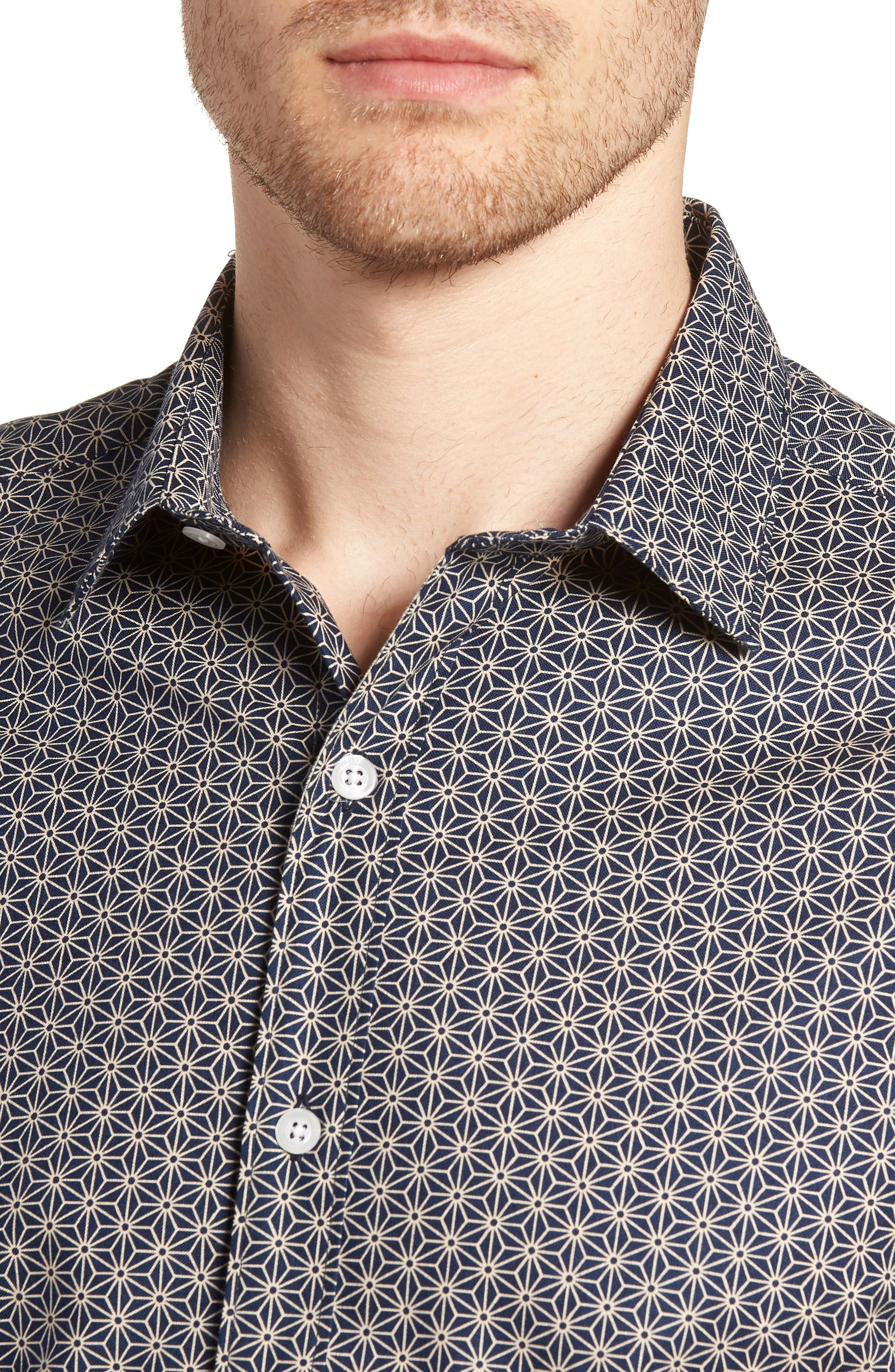 Clovis Novelty Tailored Fit Print Sport Shirt,                             Alternate thumbnail 4, color,                             409