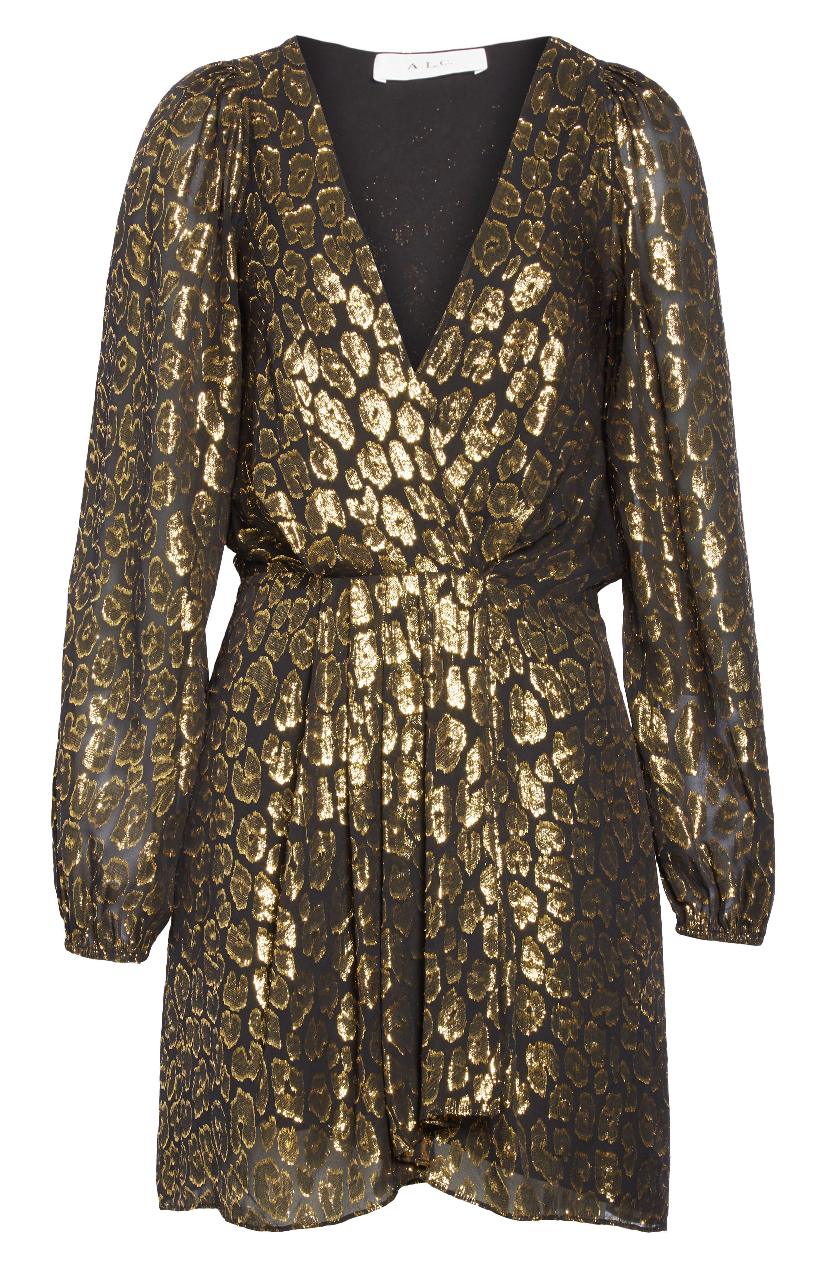 A.L.C.,                             Elsa Marina Leopard Fil Coupé Dress,                             Alternate thumbnail 7, color,                             001