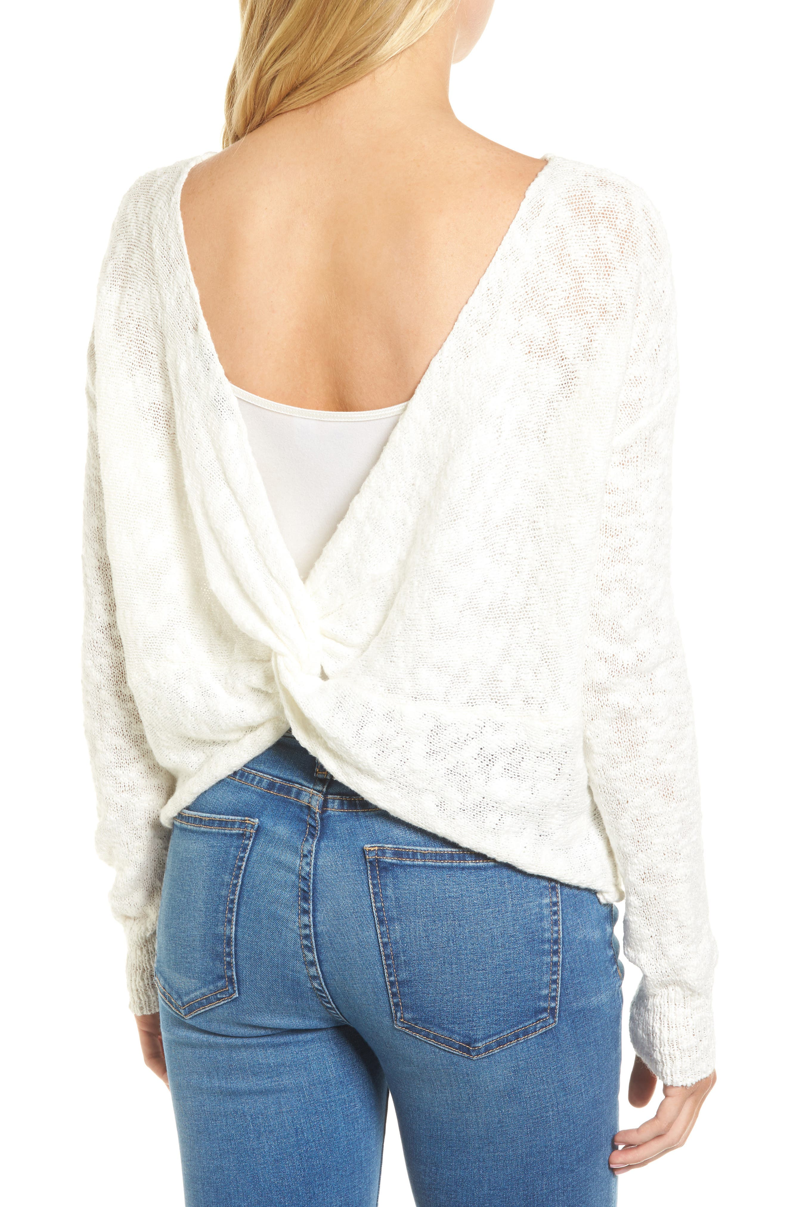Textured Twist Back Sweater,                             Alternate thumbnail 2, color,