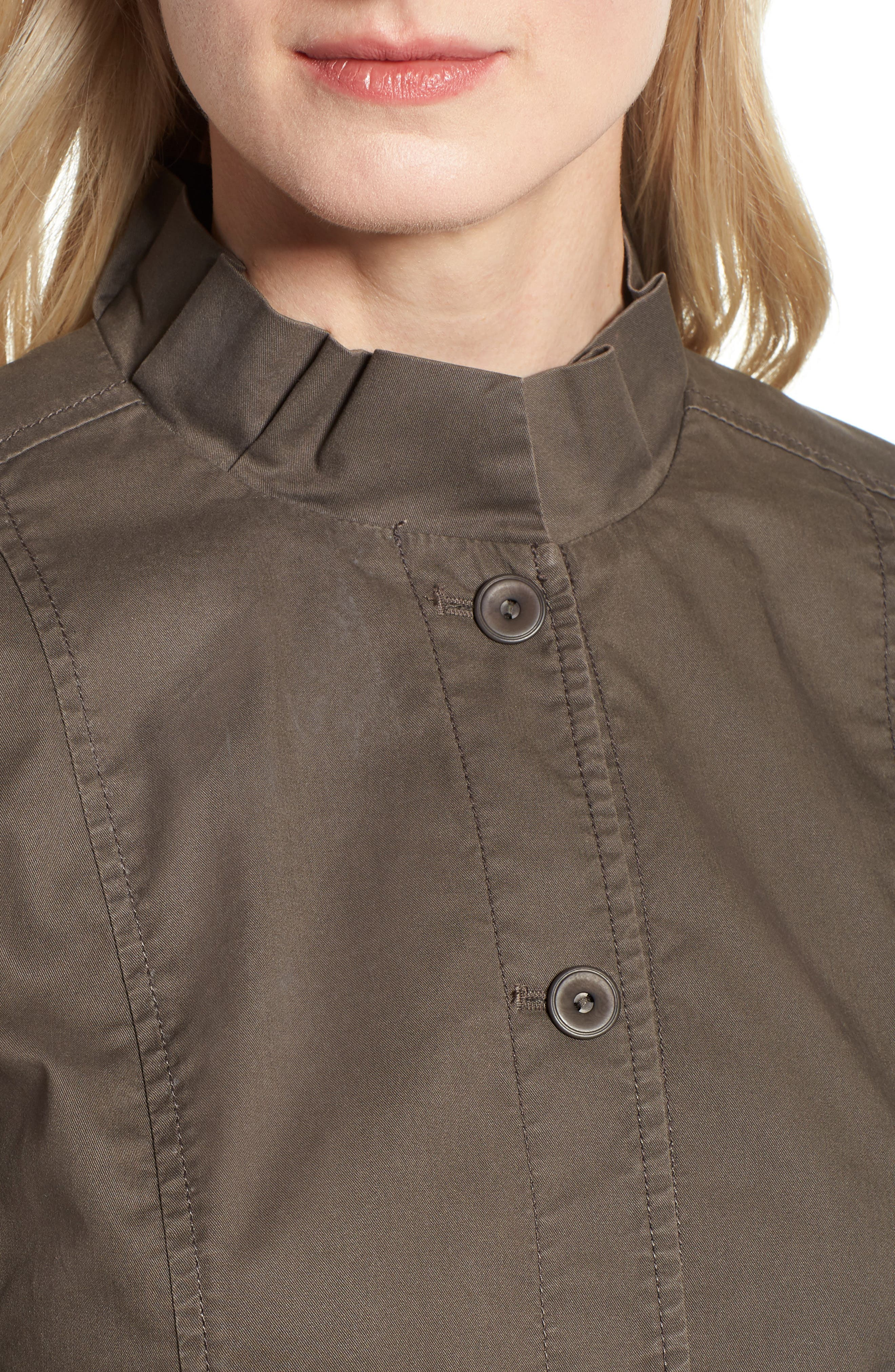 Ruffle Collar Organic Cotton Blend Jacket,                             Alternate thumbnail 4, color,                             245