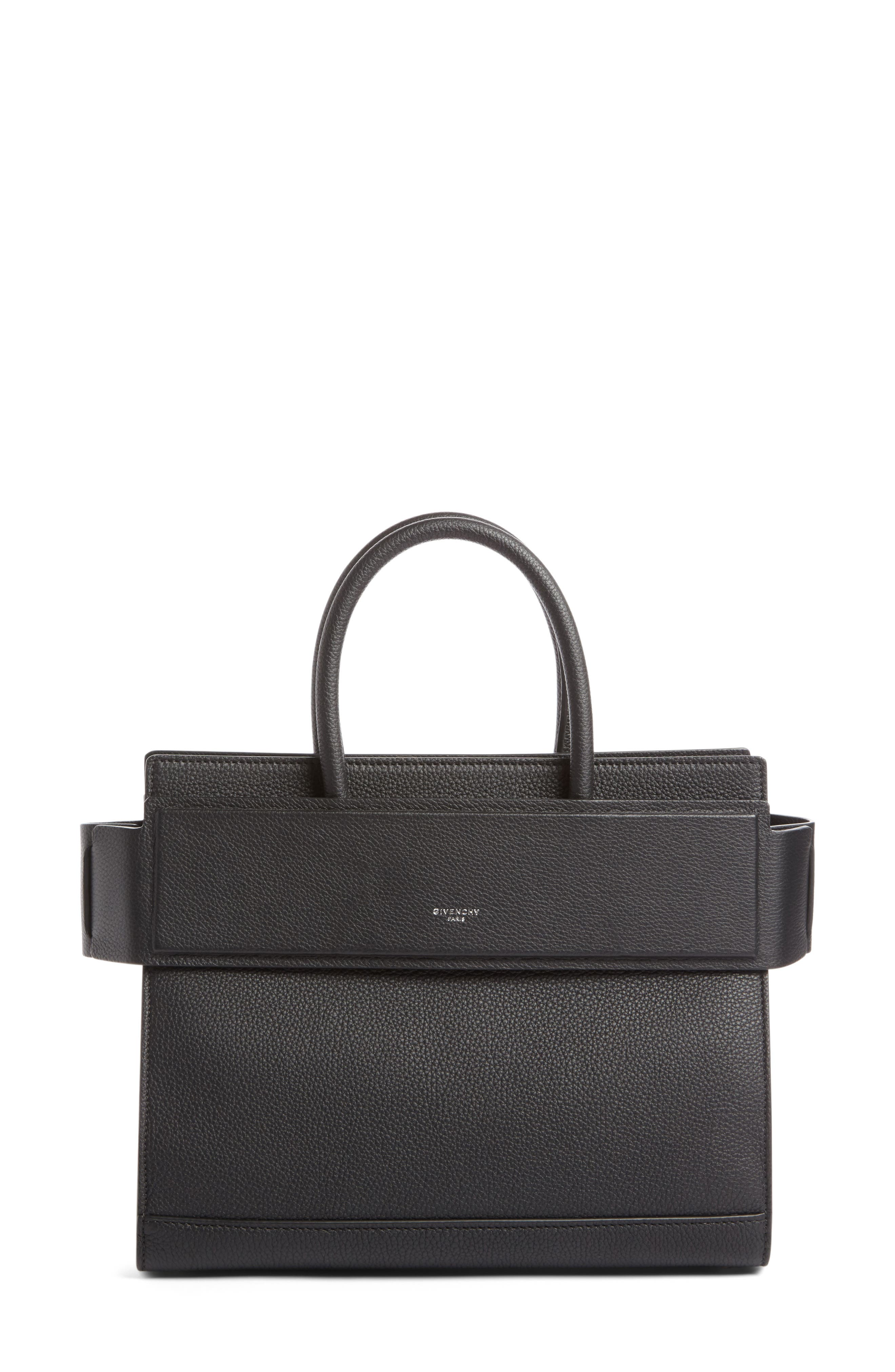 Small Horizon Grained Calfskin Leather Tote,                             Alternate thumbnail 2, color,                             BLACK