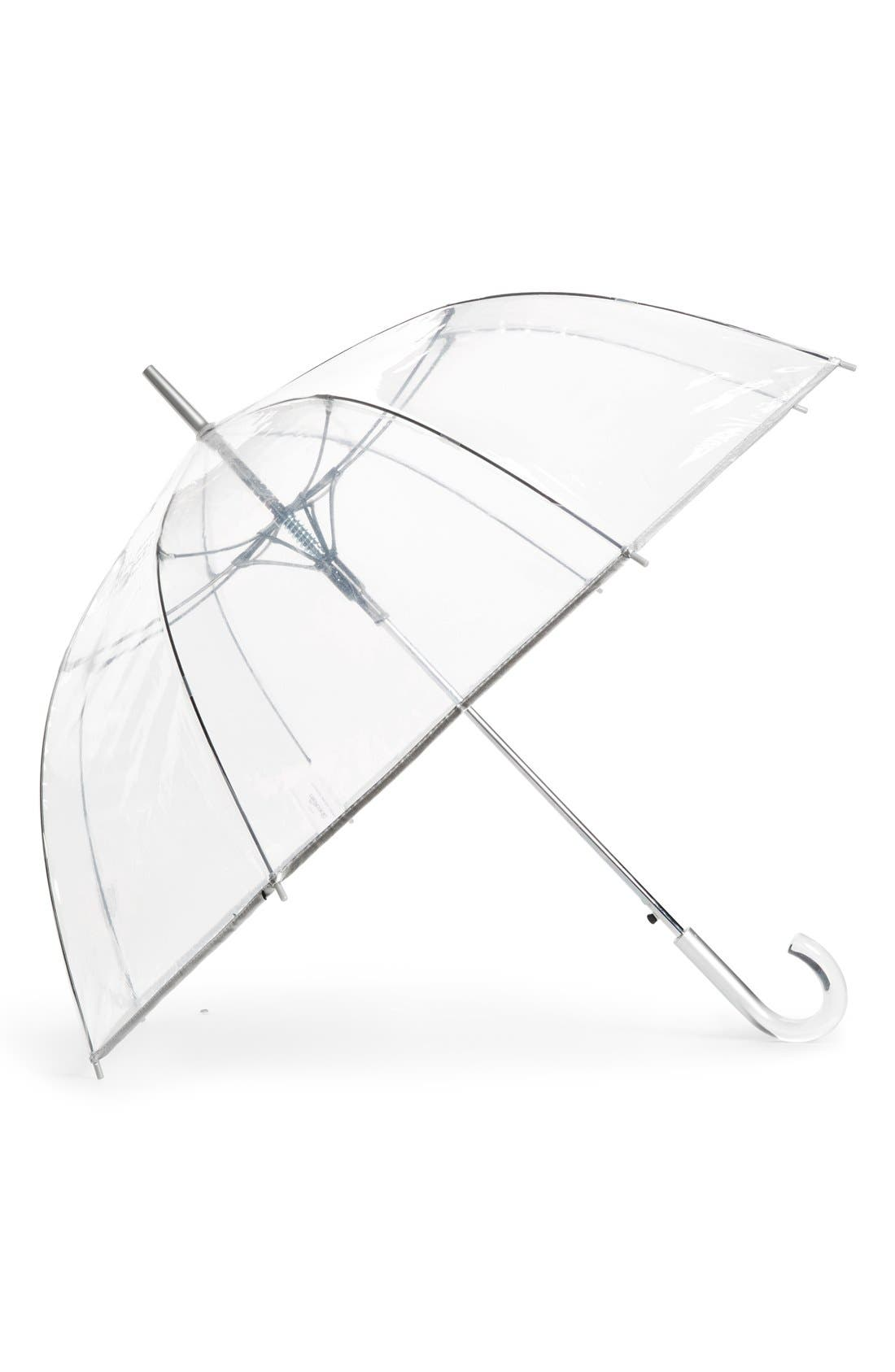 Auto Open Stick Clear Dome Umbrella,                         Main,                         color, CLEAR SILVER