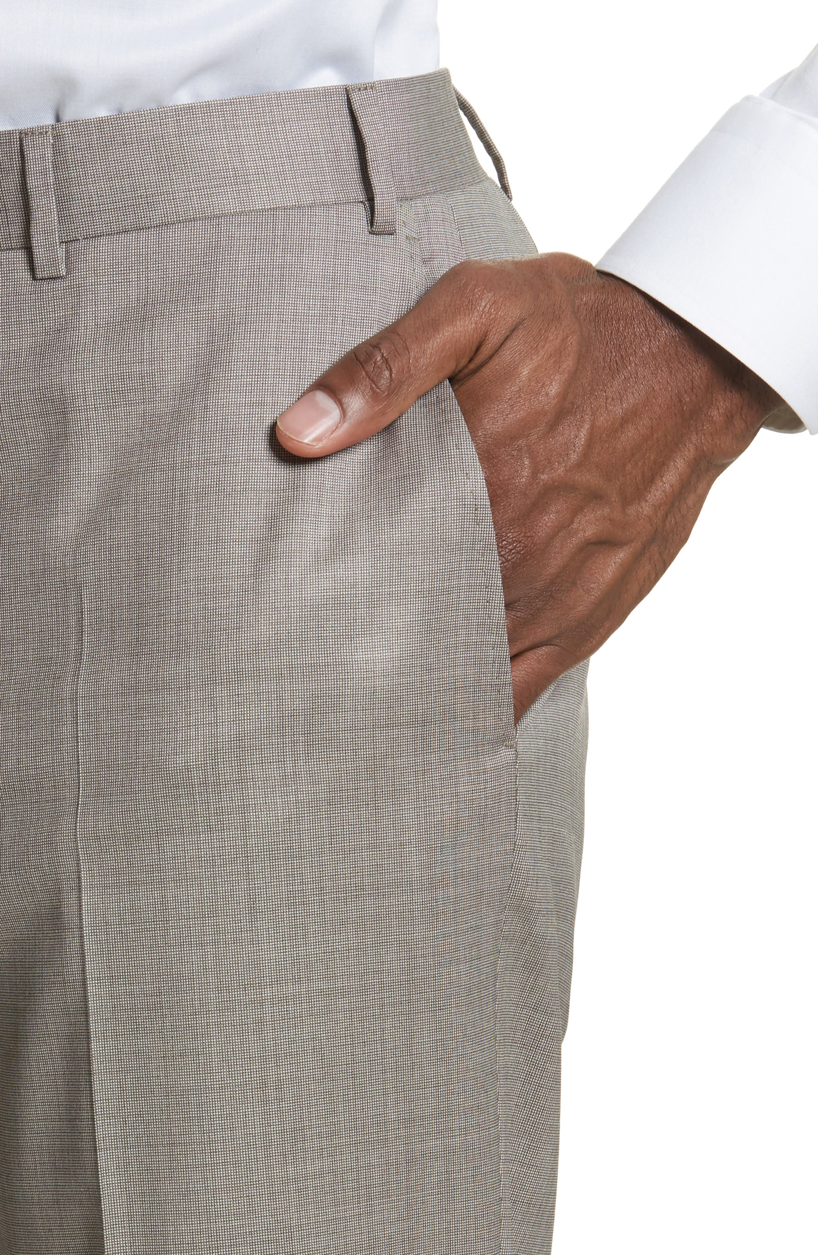 Flat Front Solid Wool Trousers,                             Alternate thumbnail 4, color,                             252