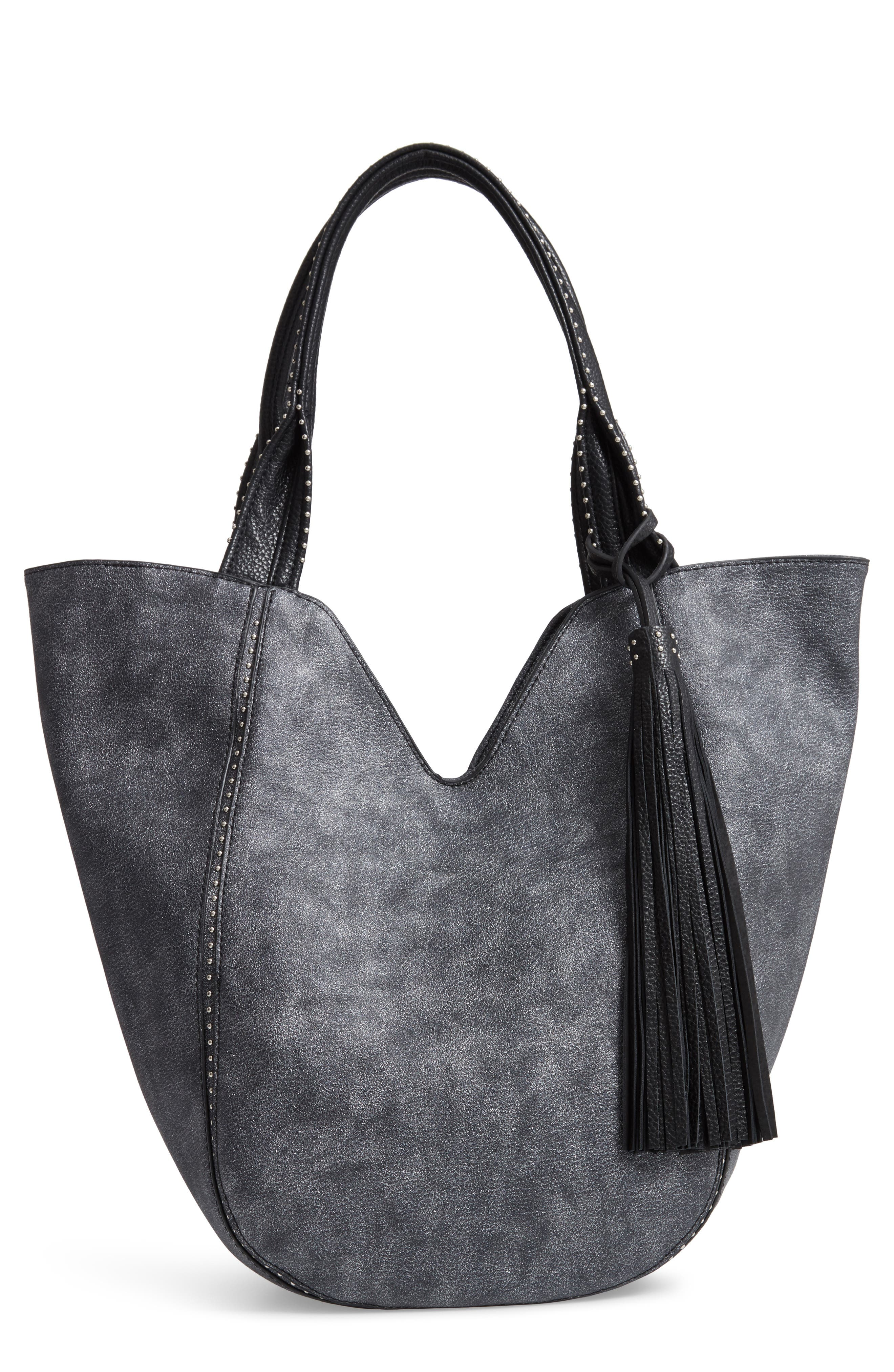 SONDRA ROBERTS Studded Faux Leather Shopper - Grey in Pewter Grey