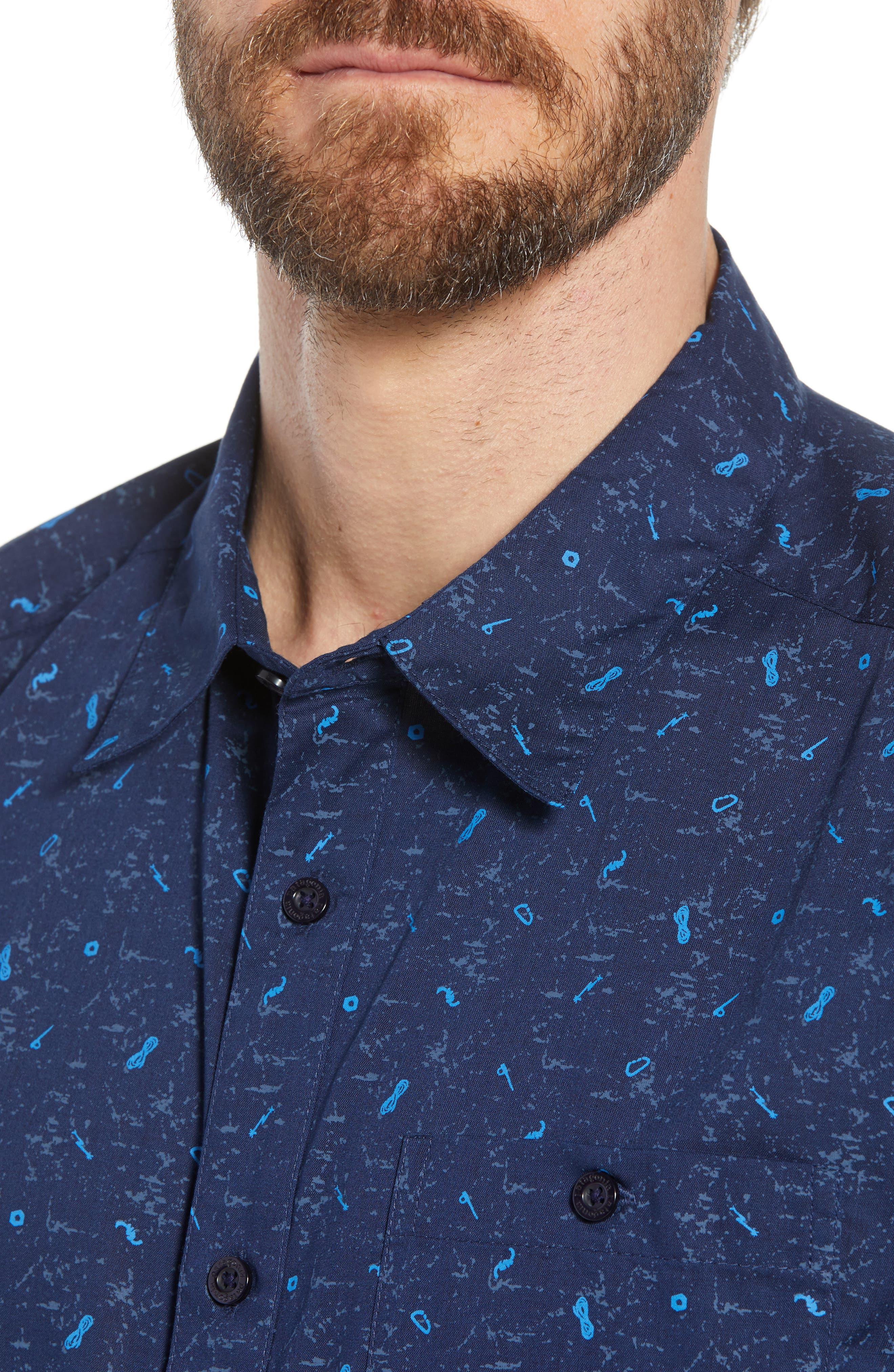 'Go To' Slim Fit Short Sleeve Sport Shirt,                             Alternate thumbnail 4, color,                             ROCKWALL/ CLASSIC NAVY