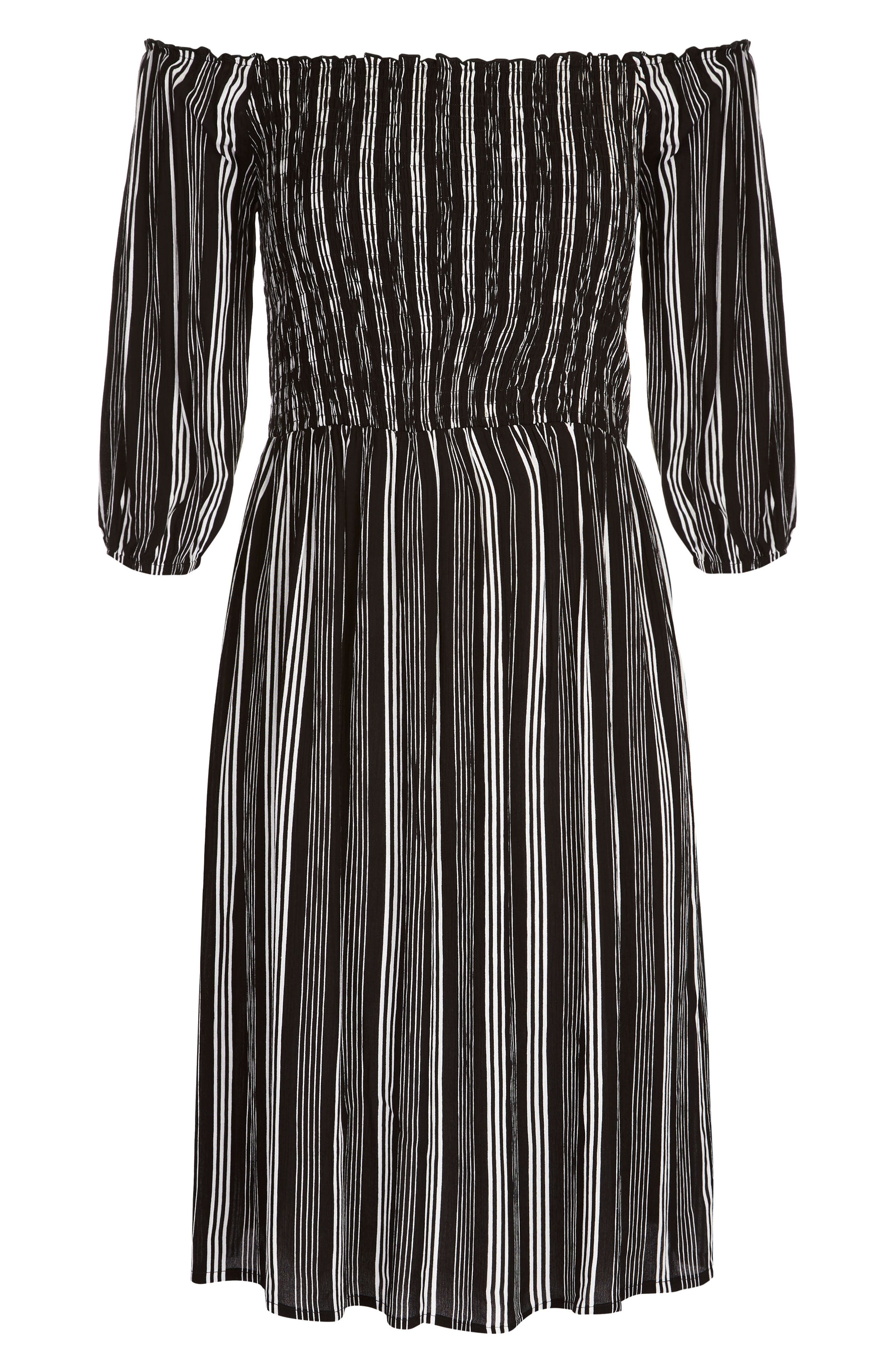 Stripe Play Off the Shoulder Dress,                             Alternate thumbnail 3, color,                             STRIPE PLAY