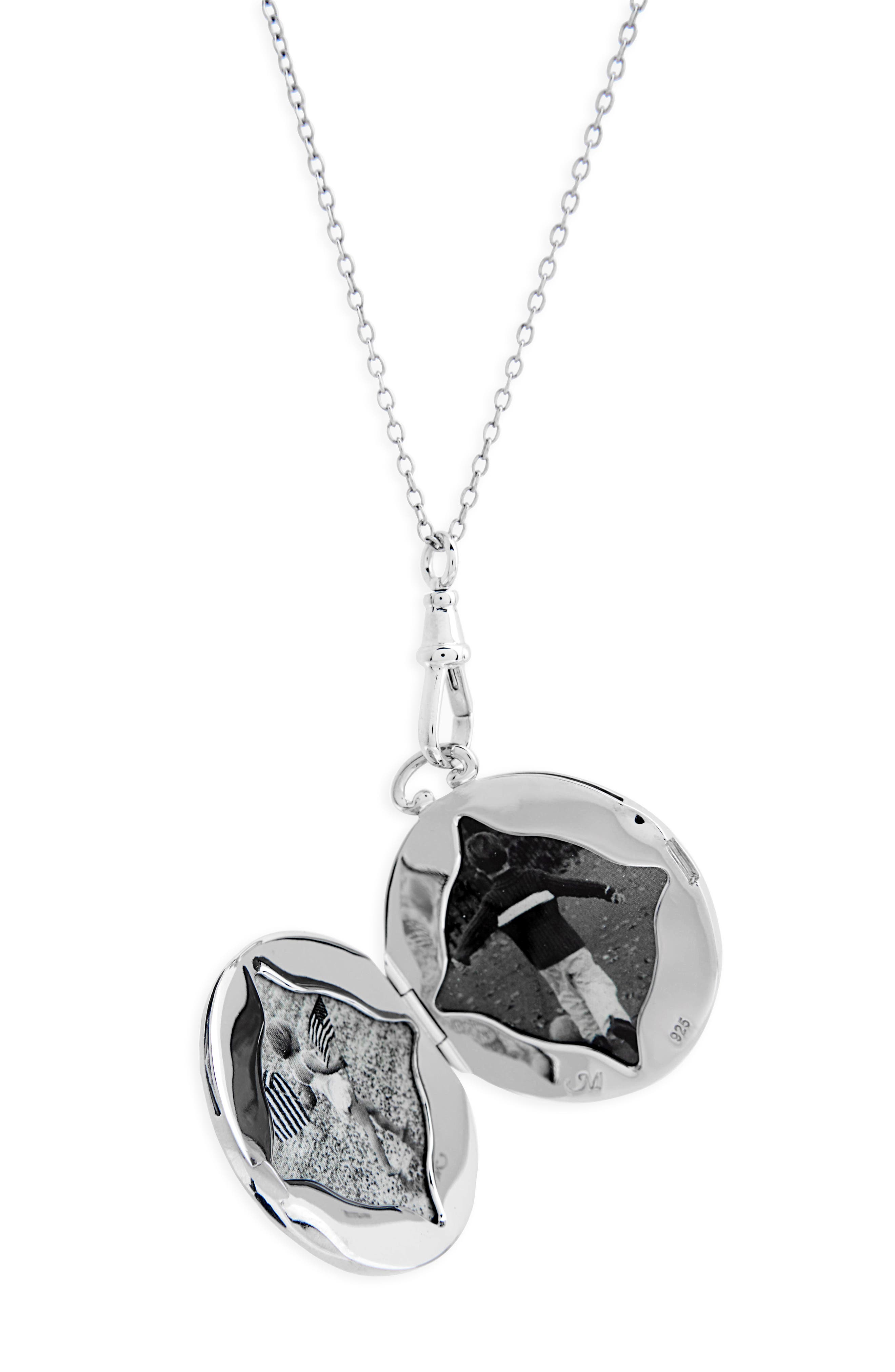 Swirling Vine Round Locket Necklace,                             Alternate thumbnail 3, color,                             STERLING SILVER