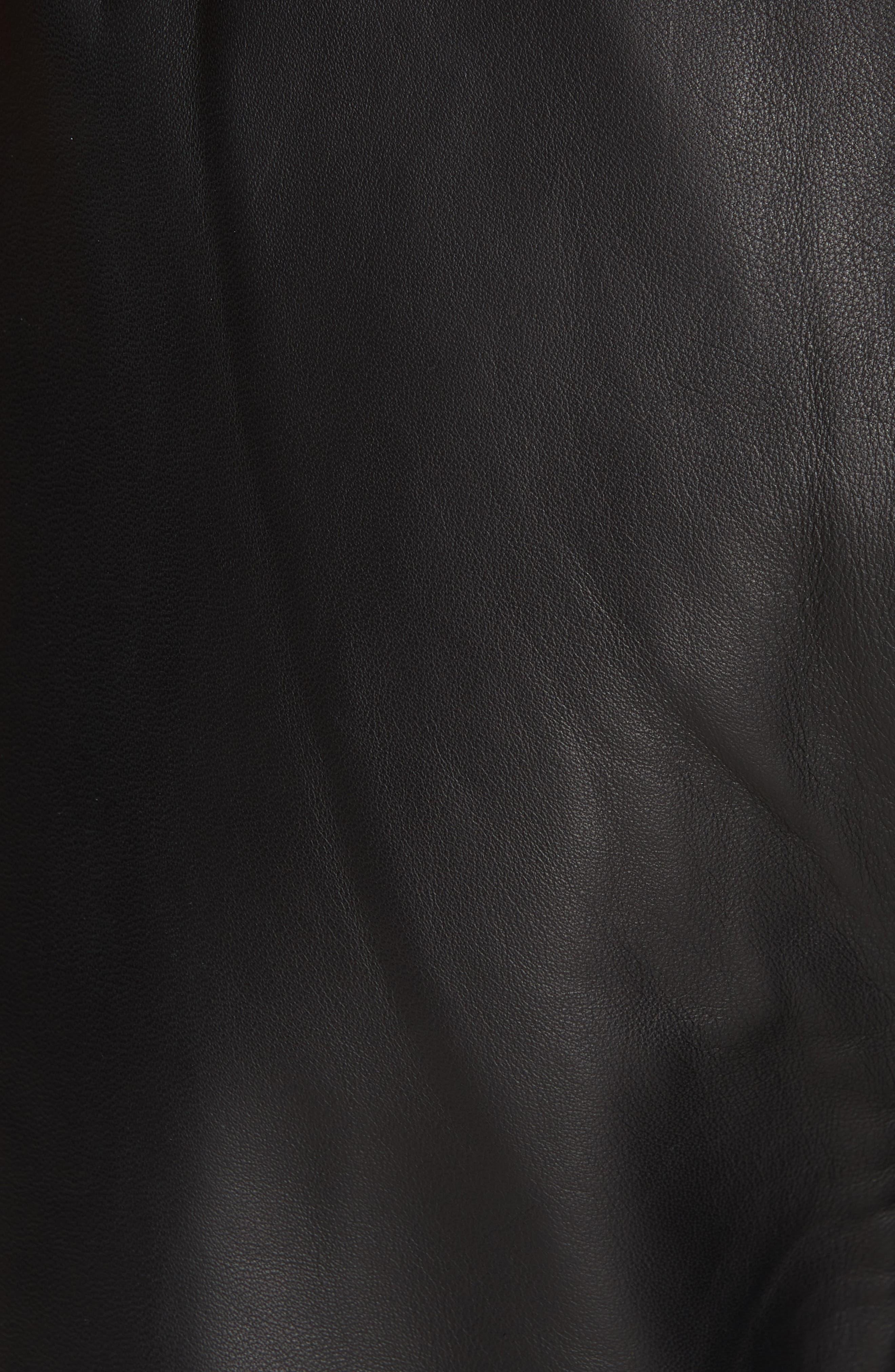 Wide Leg Crop Leather Pants,                             Alternate thumbnail 5, color,                             BLACK