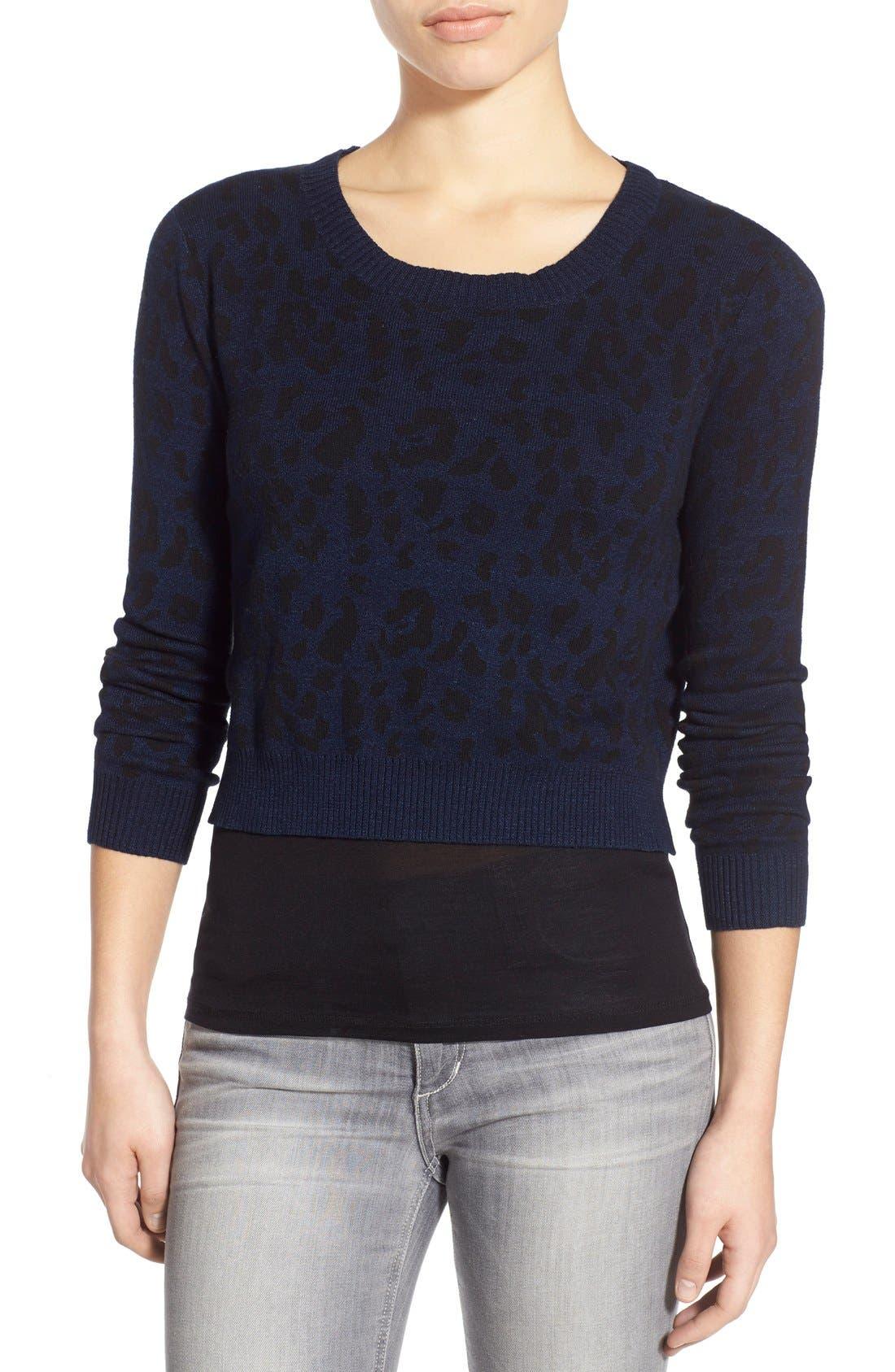 JOE'S,                             Leopard Print Crop Sweater,                             Main thumbnail 1, color,                             440