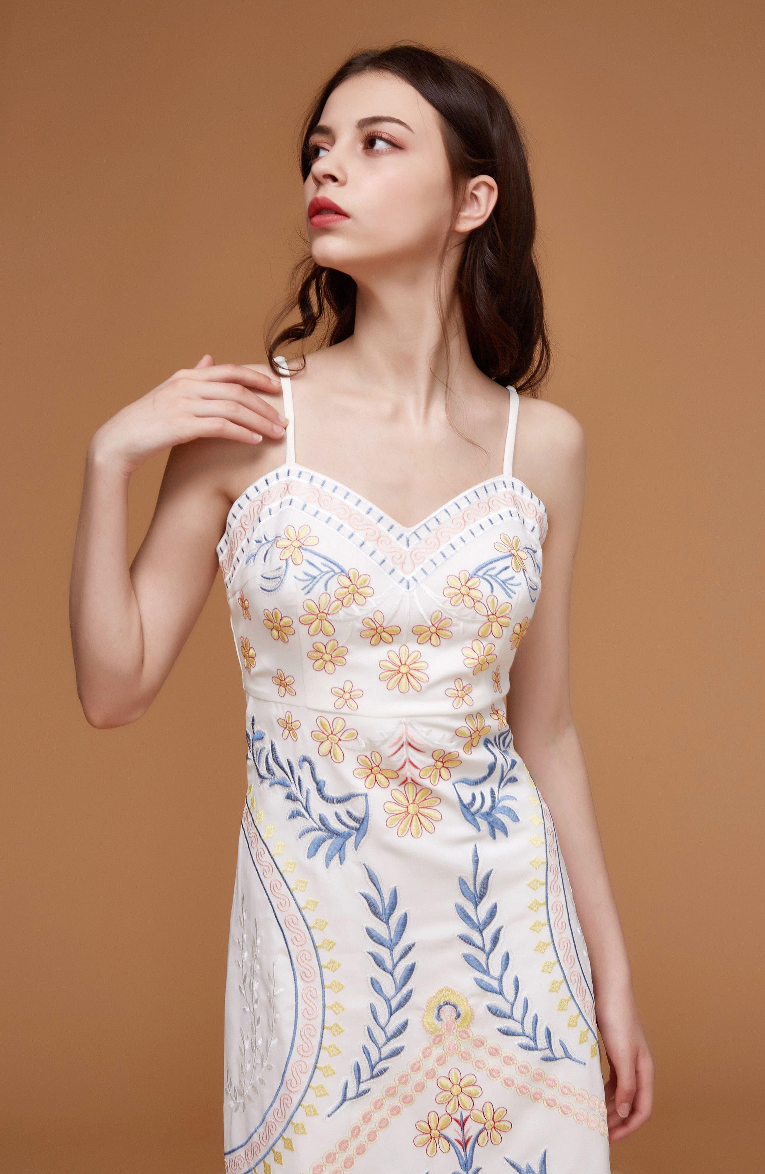 Artemisia Tea Length Dress,                             Alternate thumbnail 8, color,                             WHITE MULTI