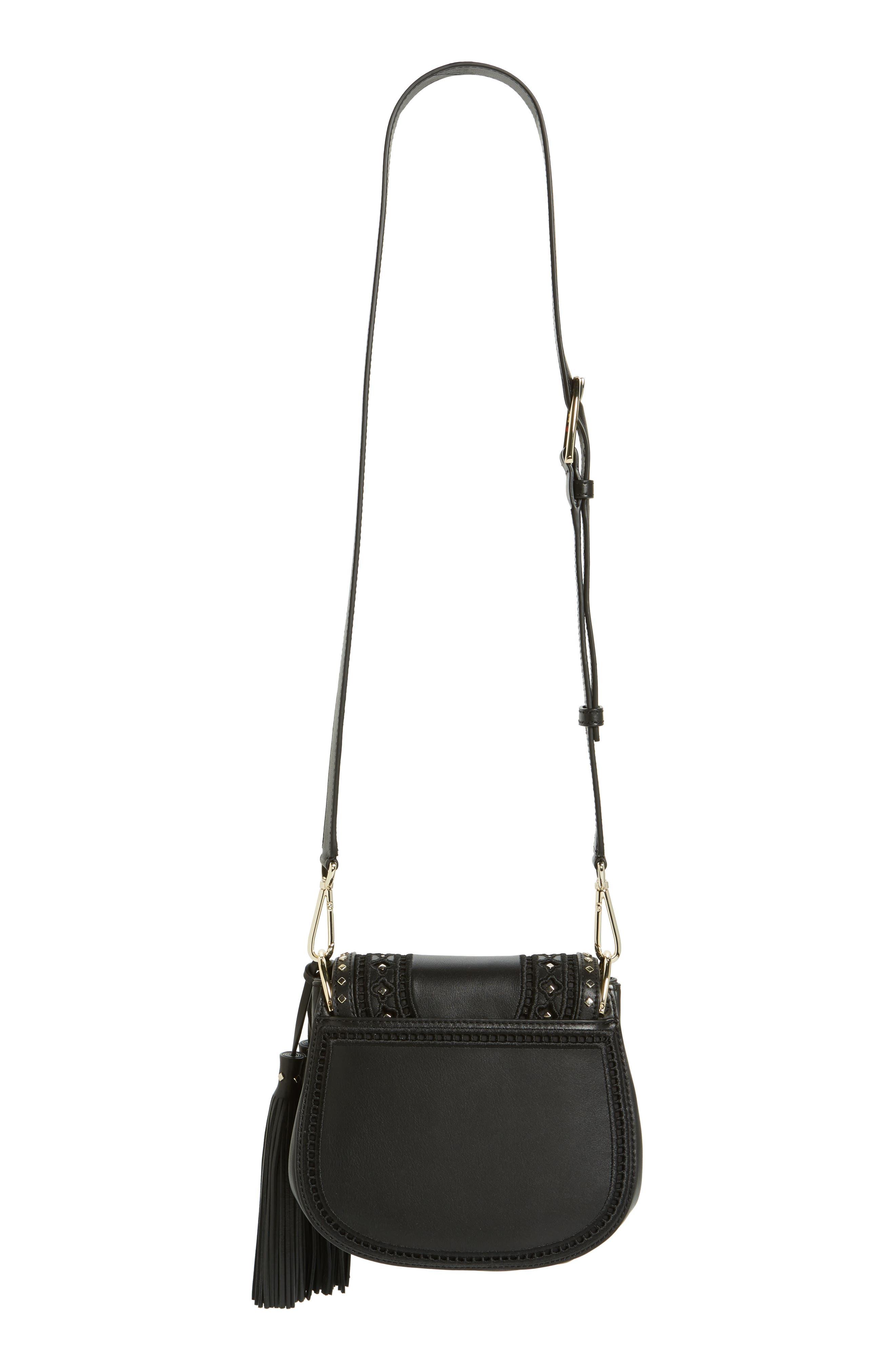 basset lane - small emaline leather crossbody bag,                             Alternate thumbnail 3, color,                             001
