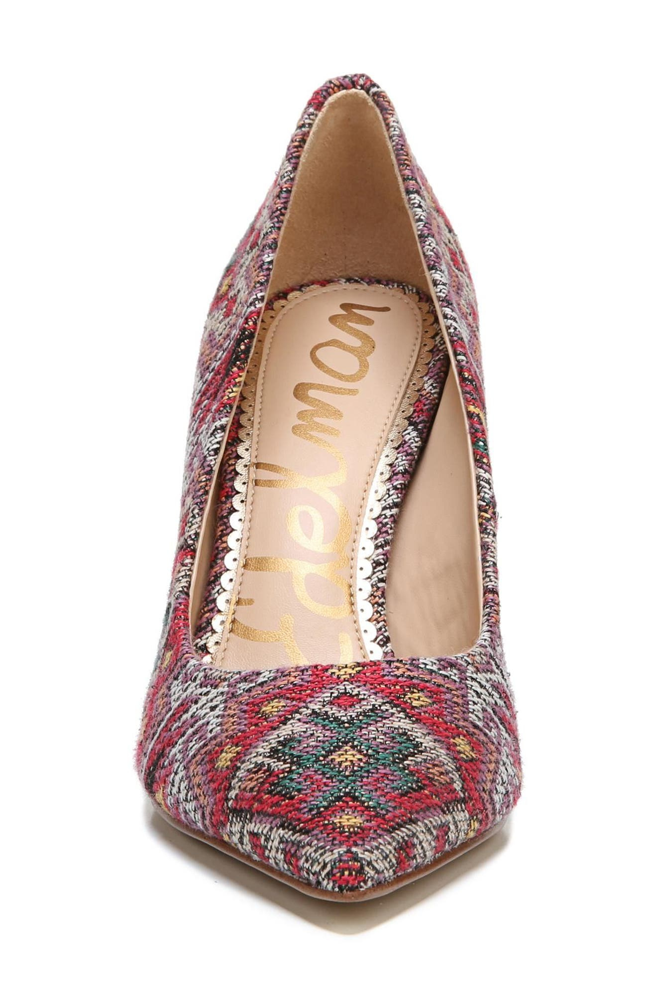 Hazel Pointy Toe Pump,                             Alternate thumbnail 4, color,                             RED MULTI PRINT